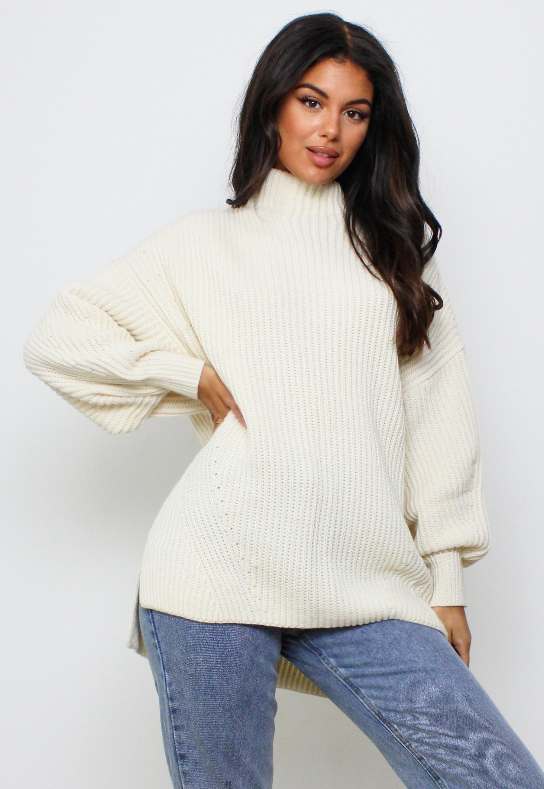 Cream Knit High Neck Longline Jumper