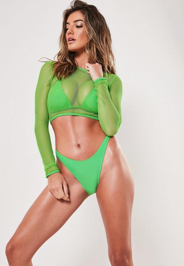 cce023ab414 Lime Fishnet Mesh 3 Piece Bikini Set   Missguided Australia