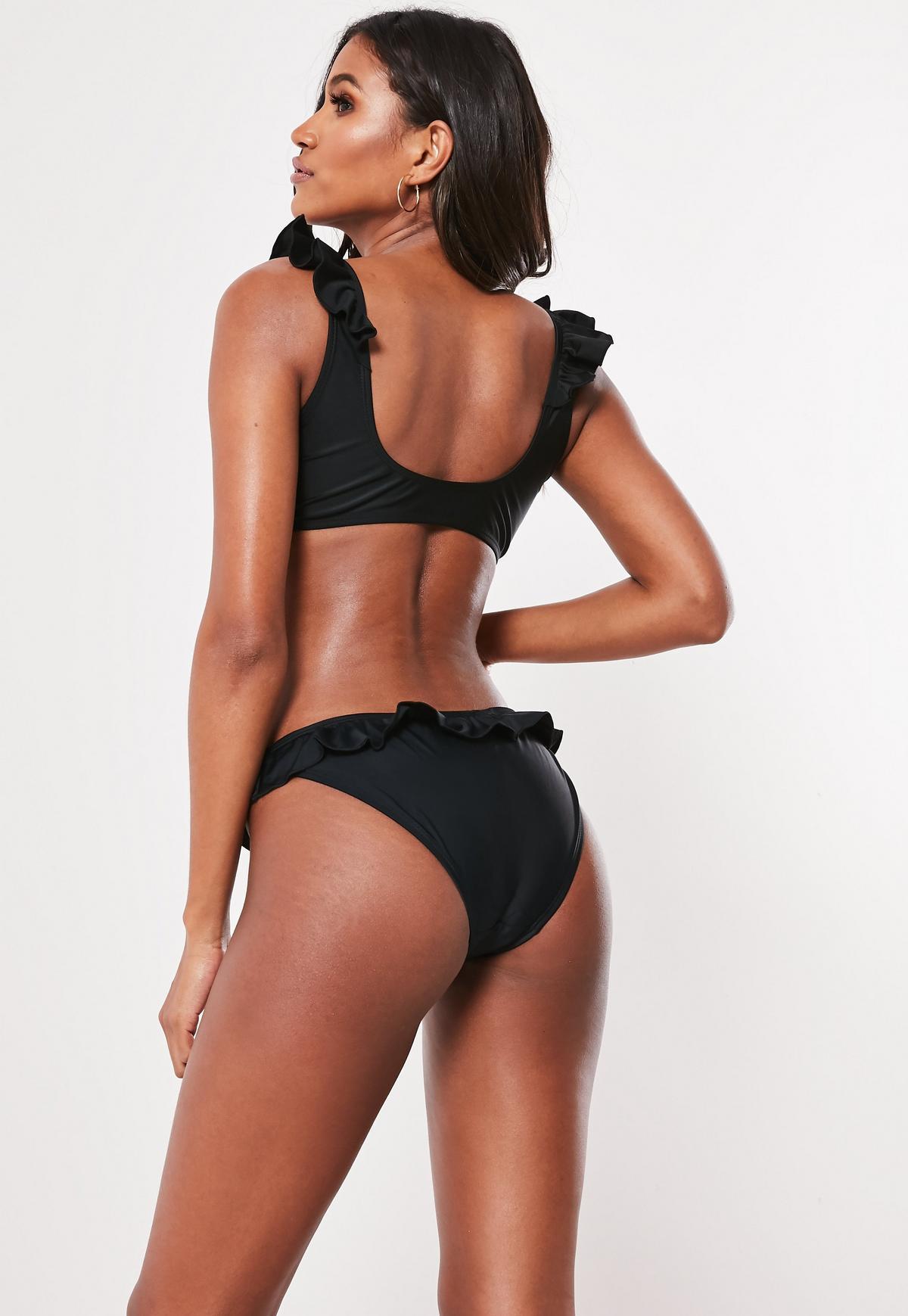 Black Mix and Match Frill Tie Front Bikini Top