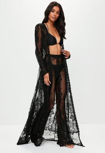 lace up in classic style detailed pictures Premium Black Eyelash Lace Beach Kimono | Missguided
