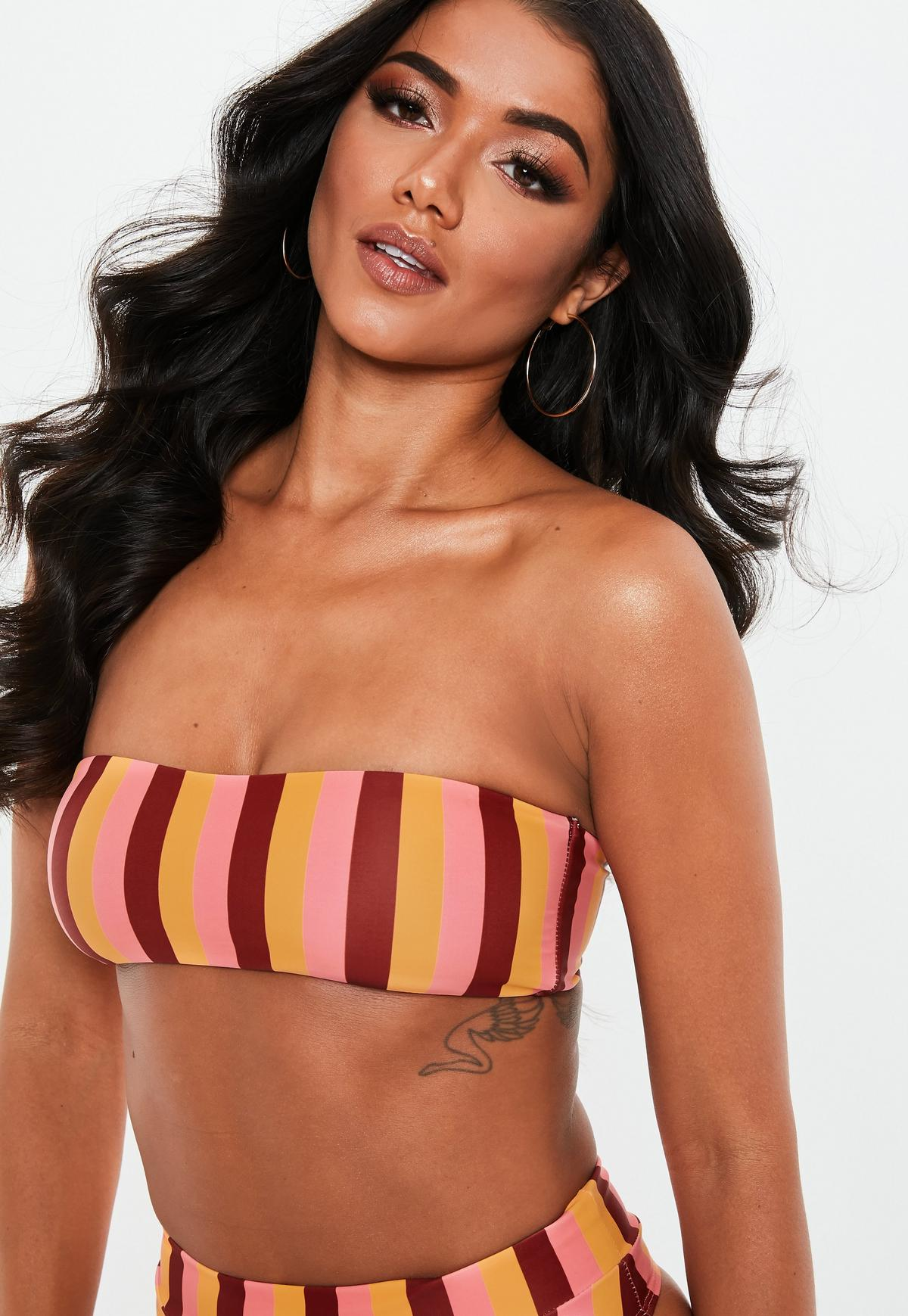 Orange Mix & Match Bandeau Bikini Top
