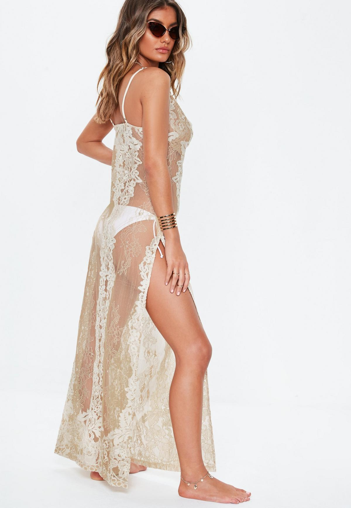 good out x big discount authentic Premium Nude Lace Cowl Neck Maxi Beach Dress | Missguided