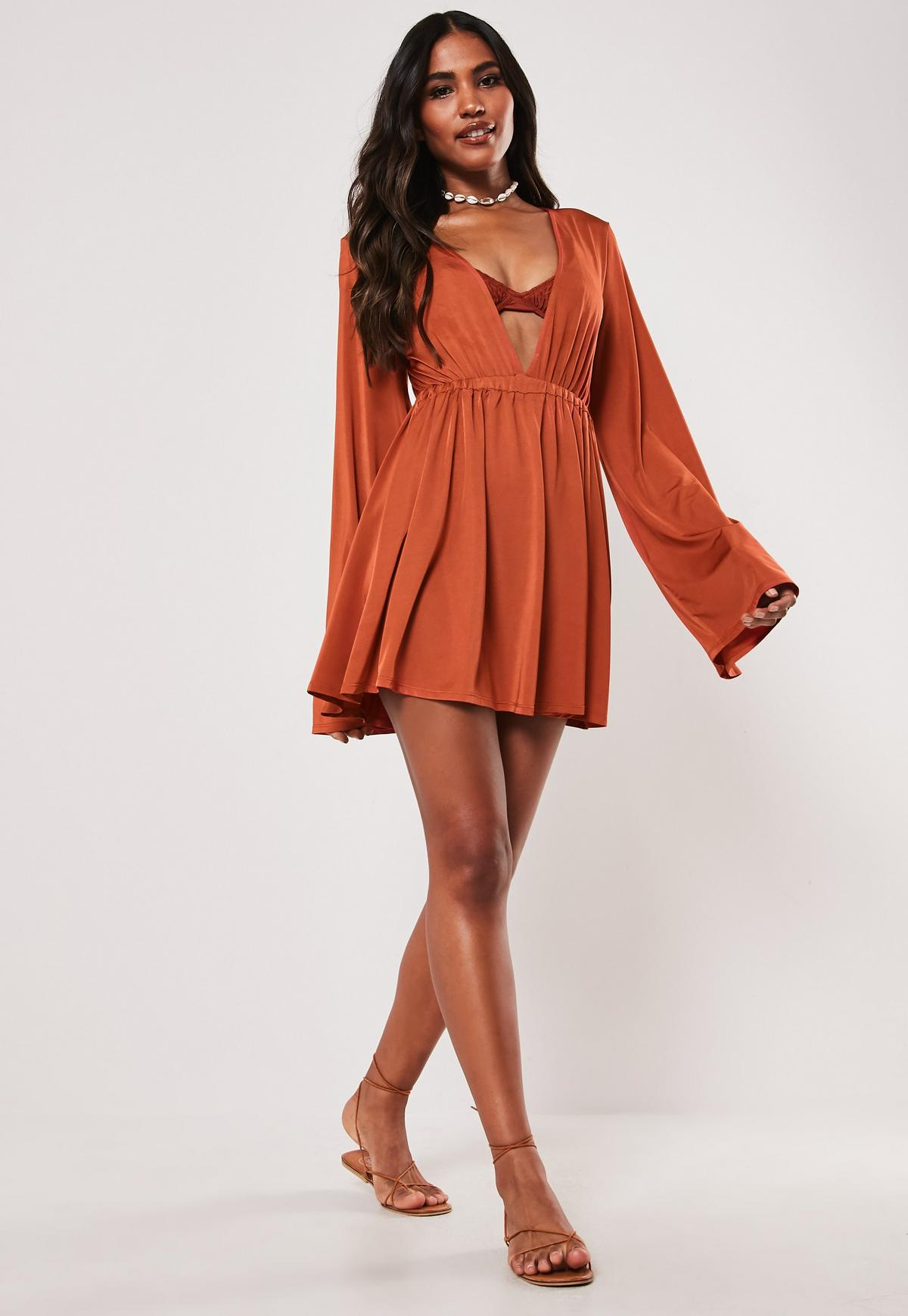 new lifestyle 2018 shoes where to buy Rust Extreme Plunge Beach Cover Up Mini Dress | Missguided