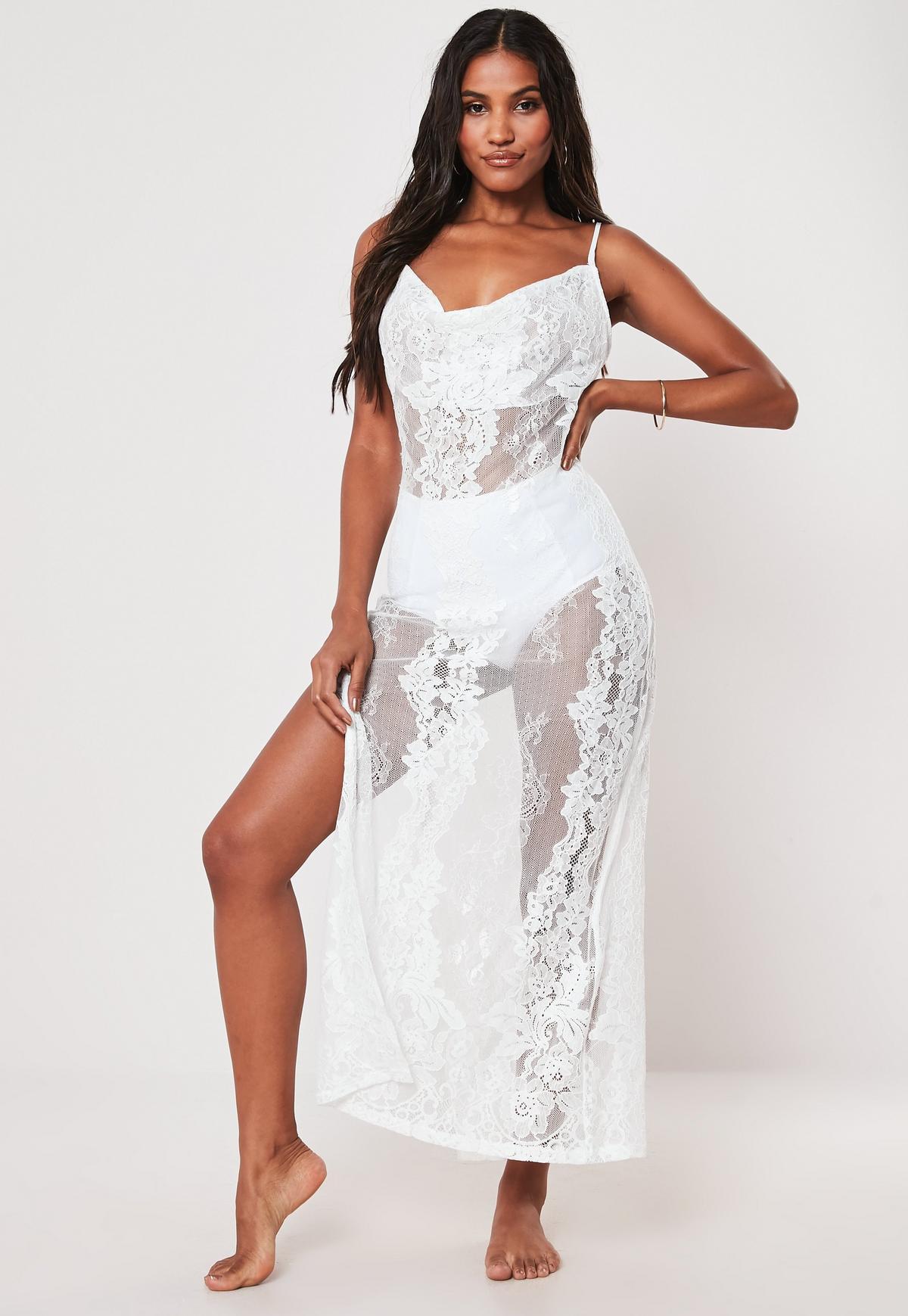 Premium White Lace Cowl Neck Maxi Beach Dress | Missguided