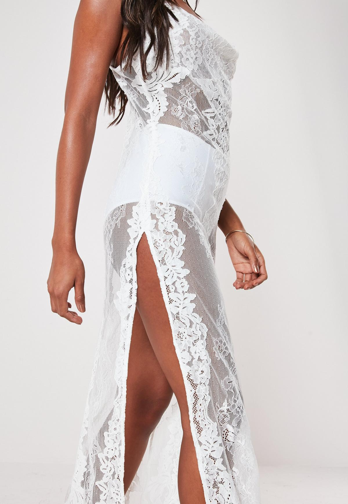 low priced new lower prices top brands Premium White Lace Cowl Neck Maxi Beach Dress | Missguided