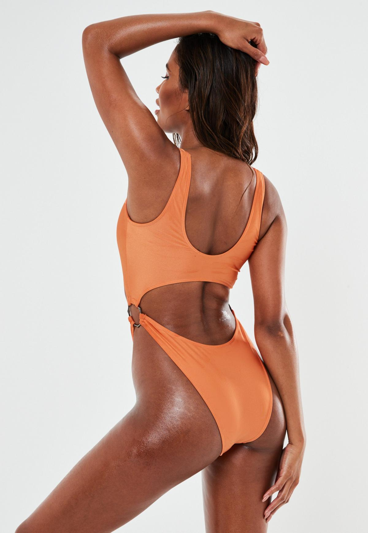Orange Double Ring High Leg Cut Out Swimsuit