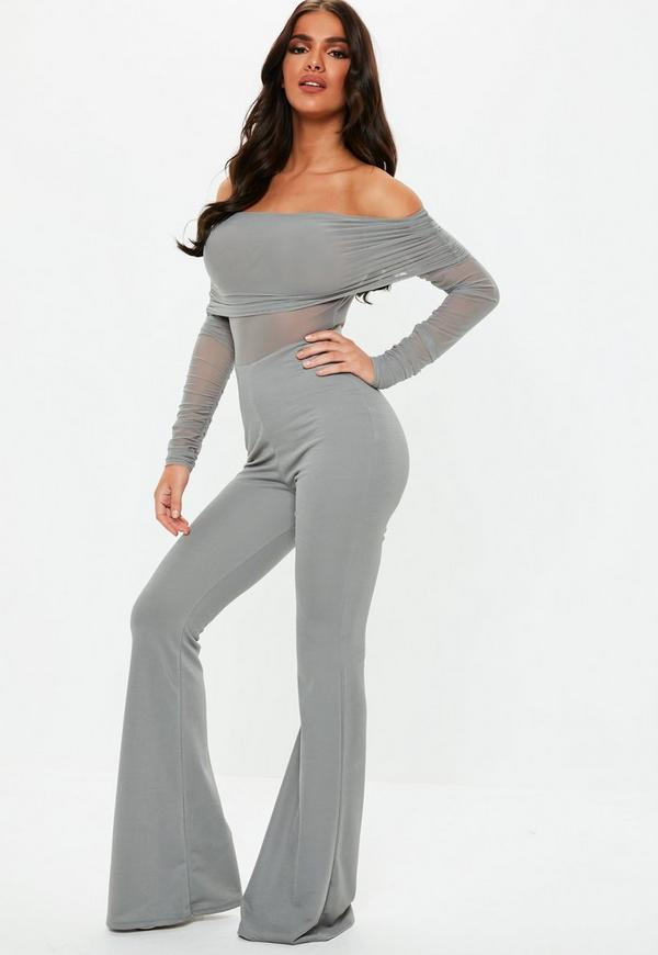 100% top quality select for official search for authentic Grey Bardot Ruched Sleeve Jumpsuit