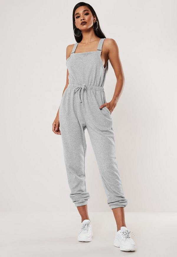 latest design enjoy cheap price outlet Grey Dungarees Jersey Jogger Cuff Jumpsuit