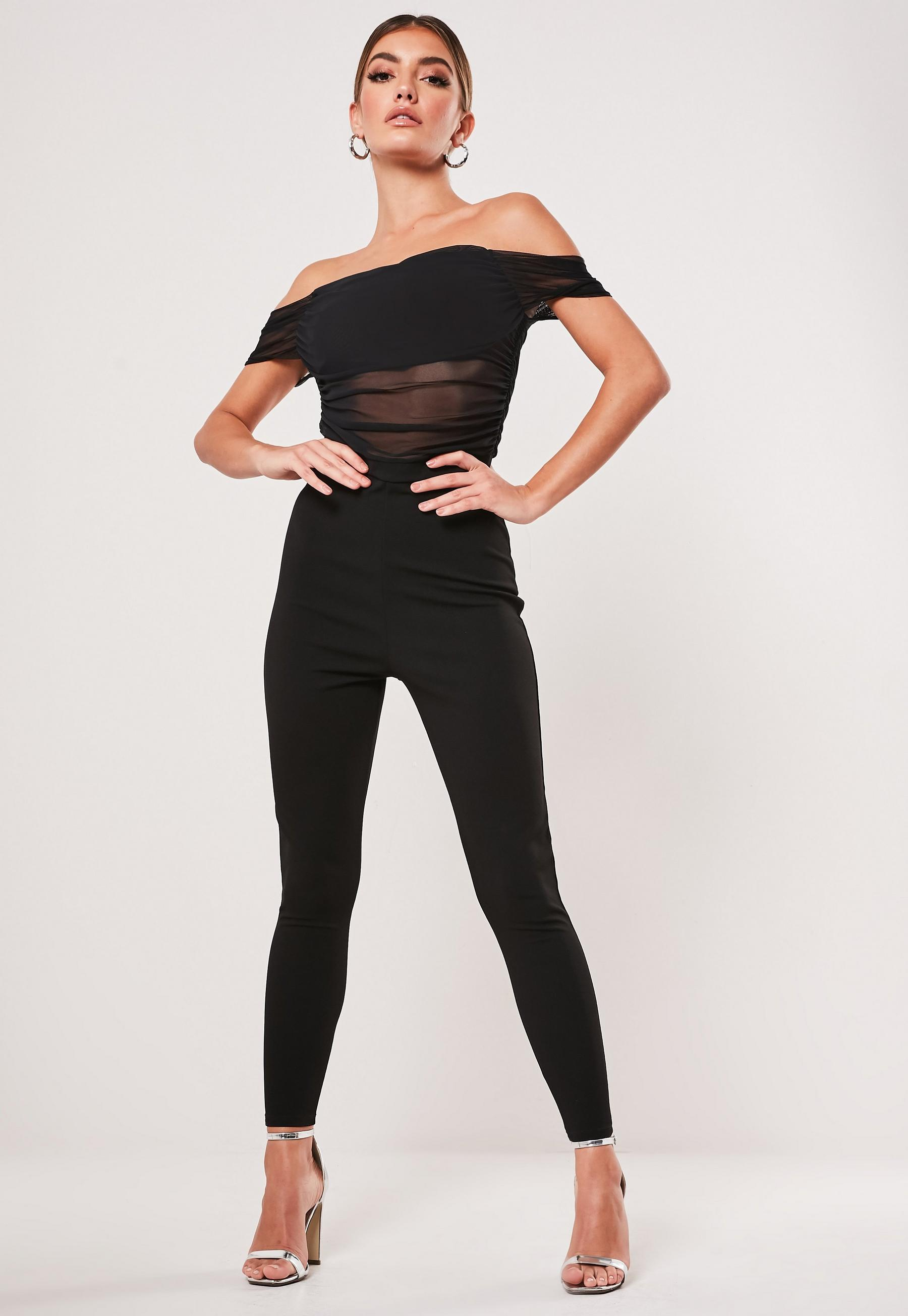 matching in colour low price sale moderate cost Black Ruched Mesh Bardot Unitard Jumpsuit