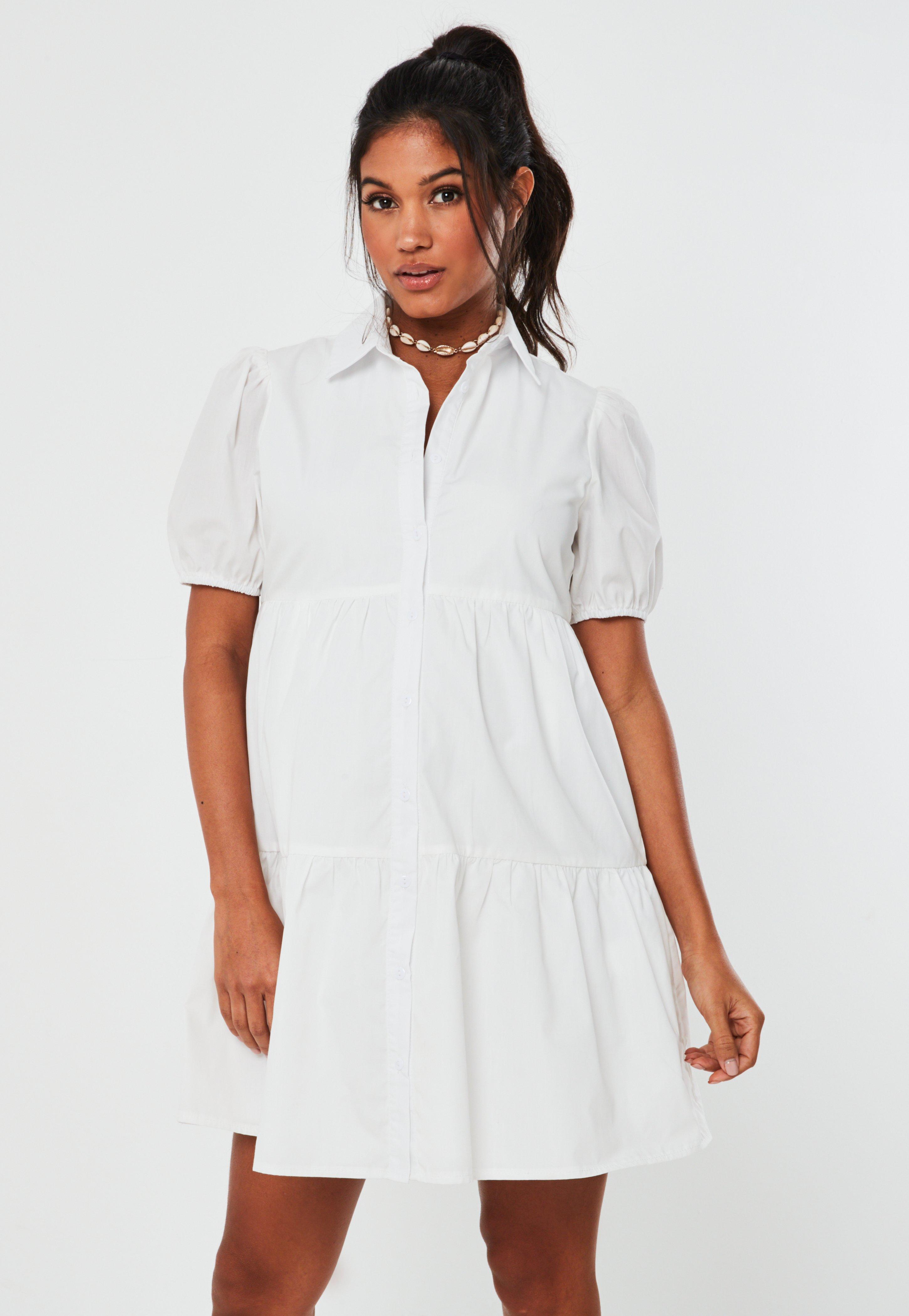 White Poplin Smock Shirt Maternity Dress Missguided