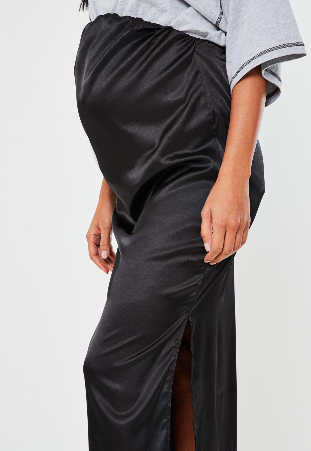 Black Satin Maternity Slip Skirt Missguided