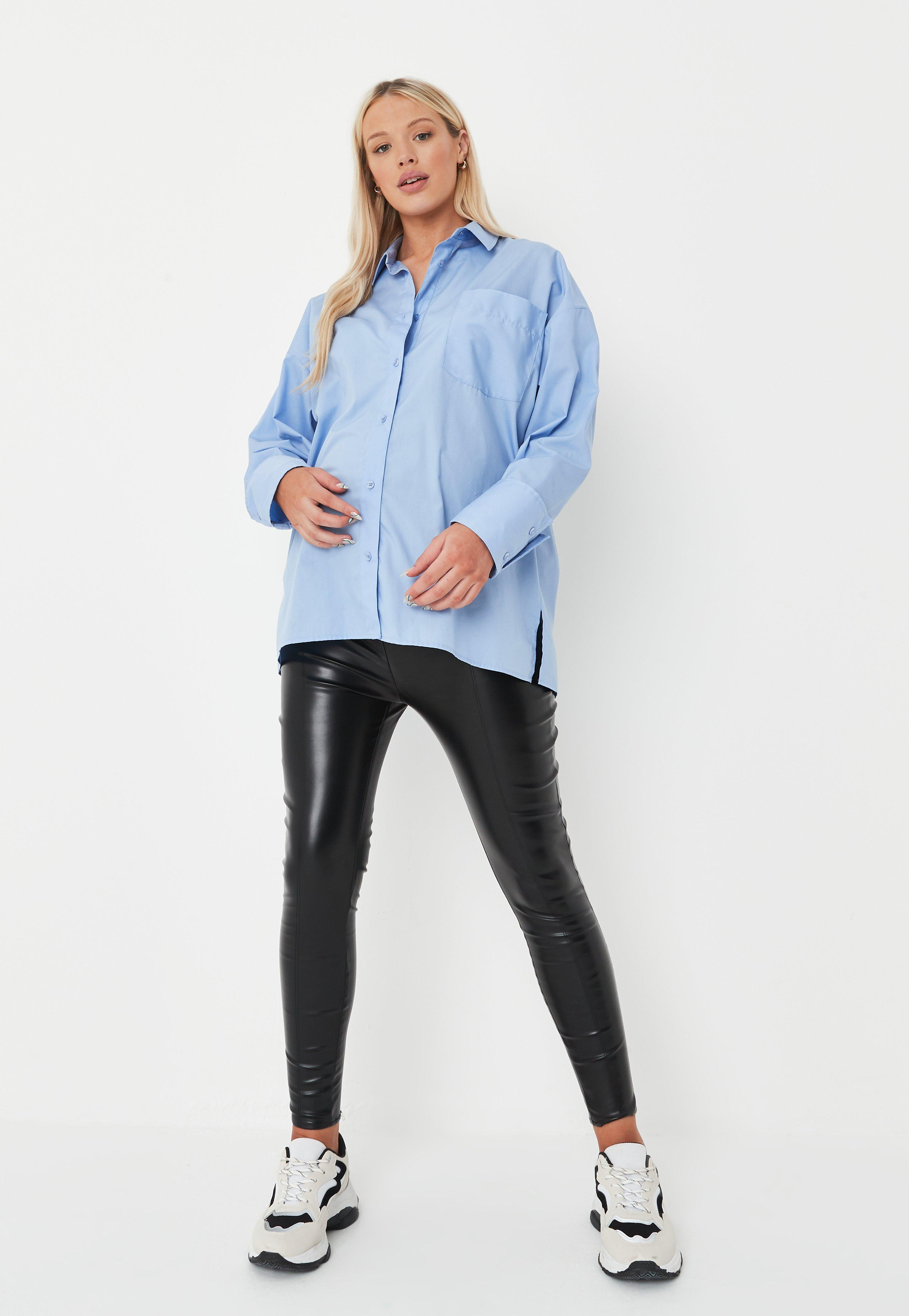Black Faux Leather Maternity Leggings Missguided