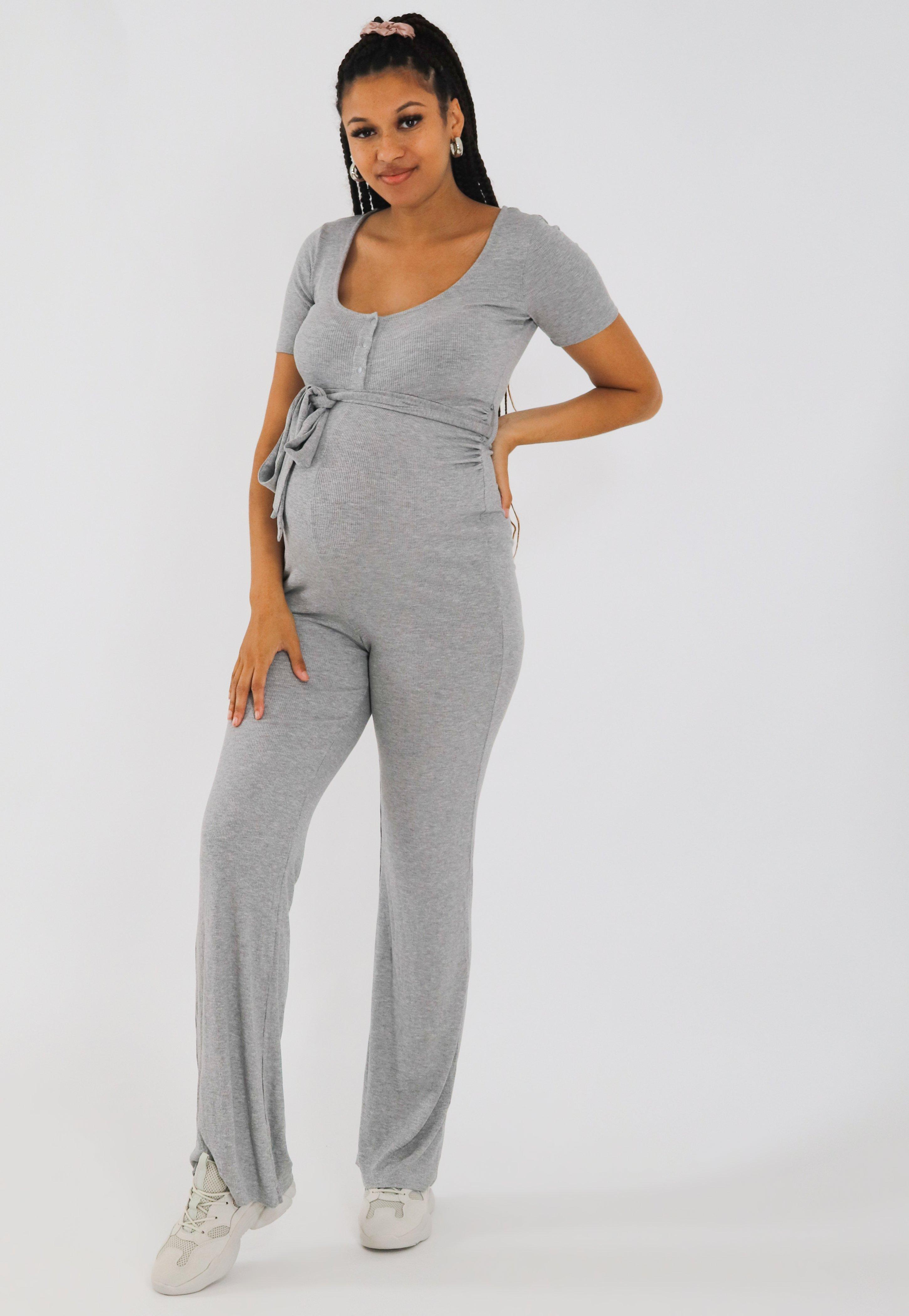 Gray Rib Popper Maternity Jumpsuit Missguided