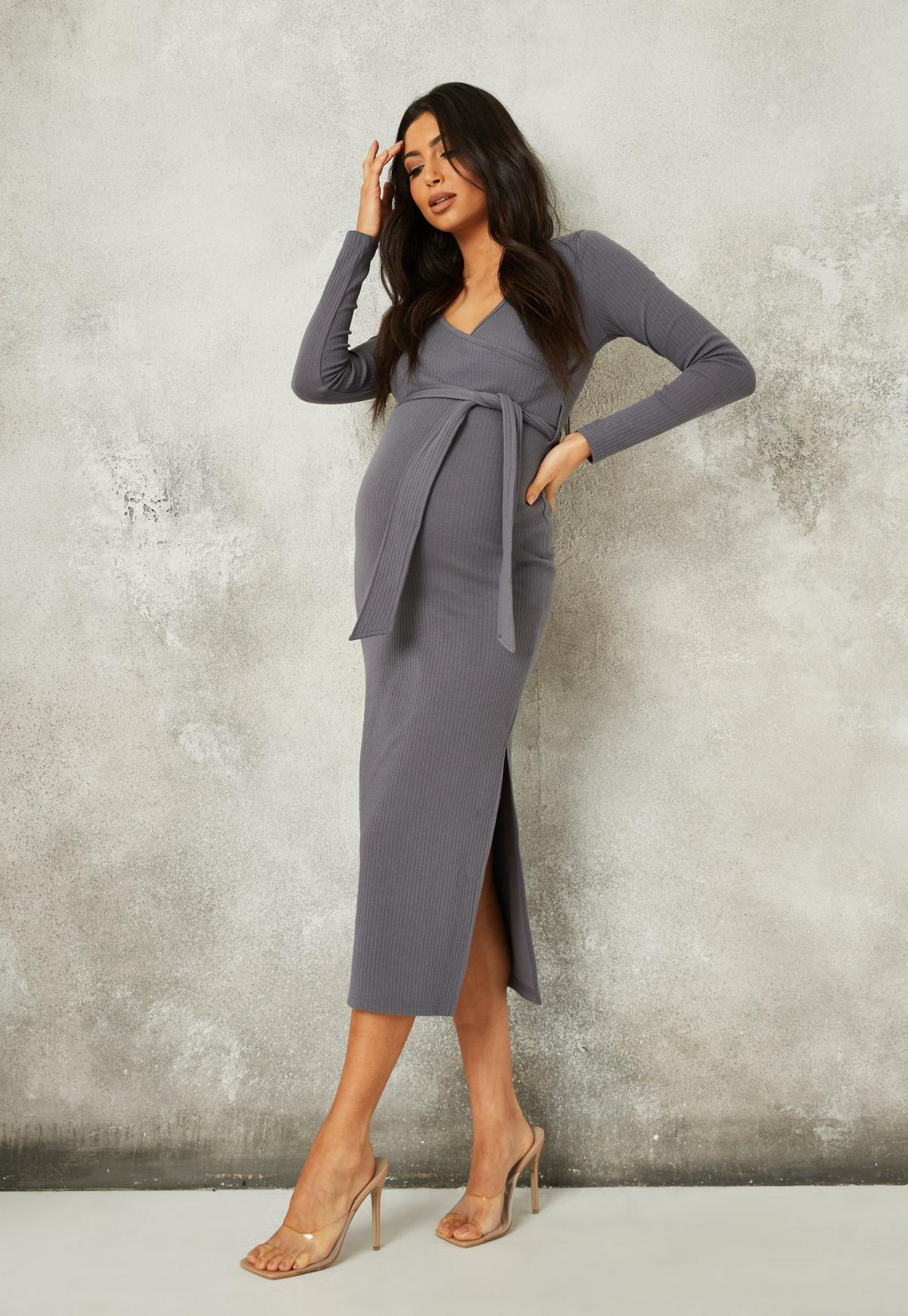 Grey Rib Belted Split Side Maternity Midi Dress Missguided