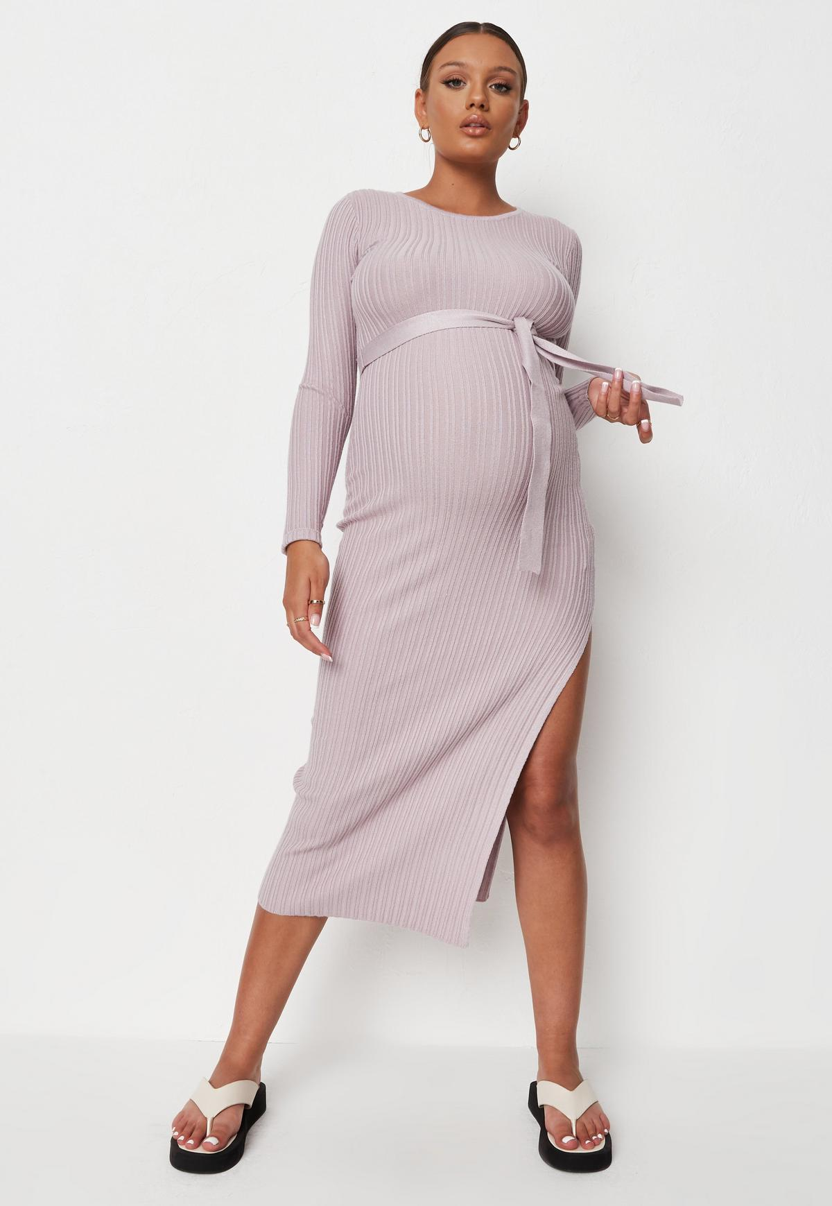 Lilac Rib Belted Maternity Knit Midi Dress