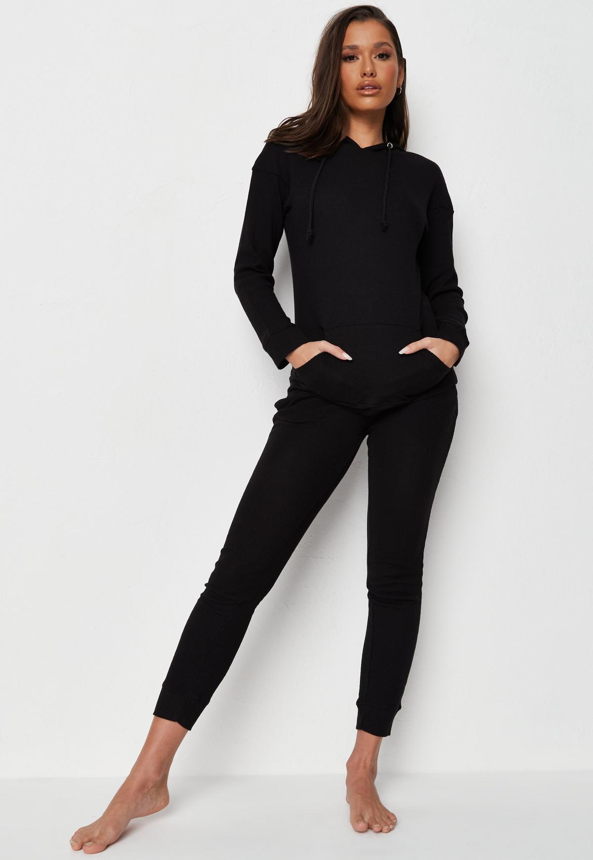 black waffle texture loungewear set