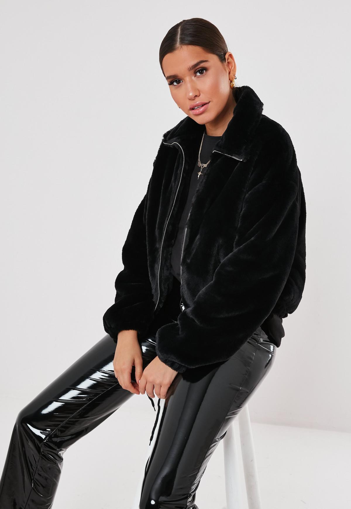 Black Cropped Faux Fur Bomber Jacket