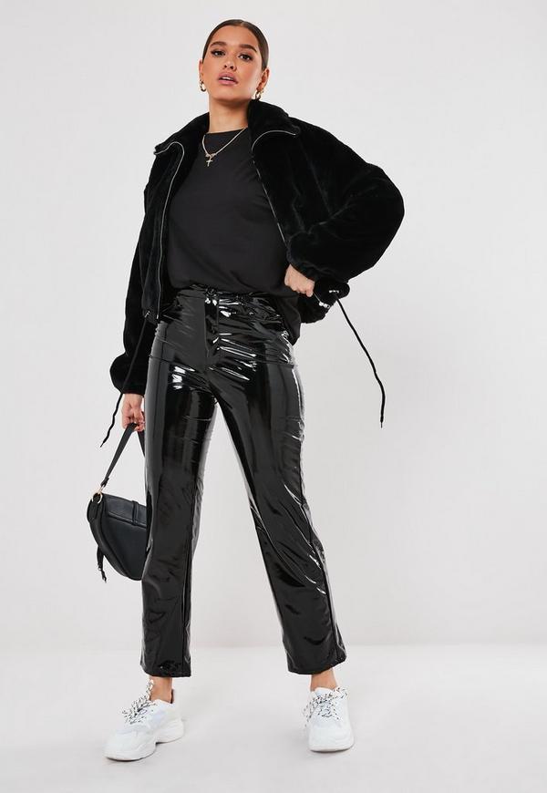 972cee172 Petite Black Cropped Faux Fur Bomber Jacket
