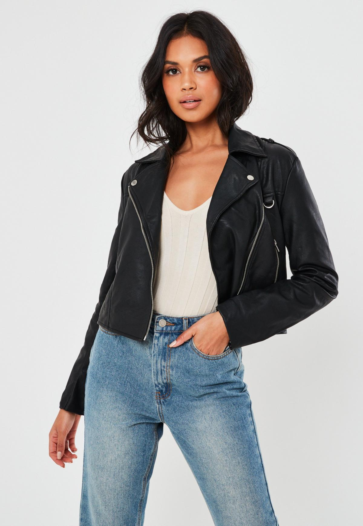 petite black ultimate boxy faux leather biker jacket
