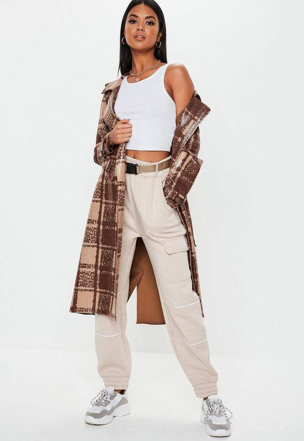 68fa1c76a Brown Snake Check Faux Leather Trench Coat | Missguided Australia