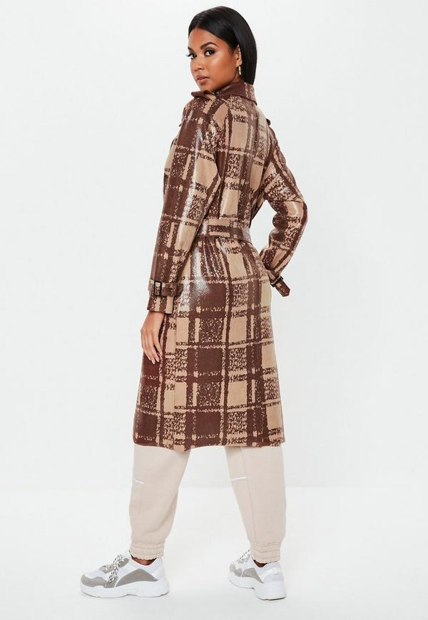 8149db420 Brown Snake Check Faux Leather Trench Coat