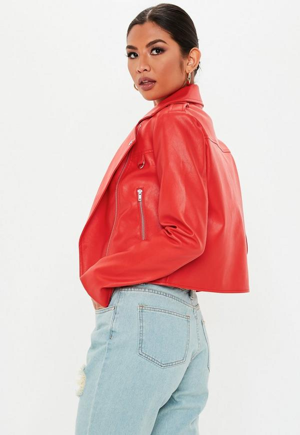 26dec23cb Red Ultimate Boxy Faux Leather Biker Jacket