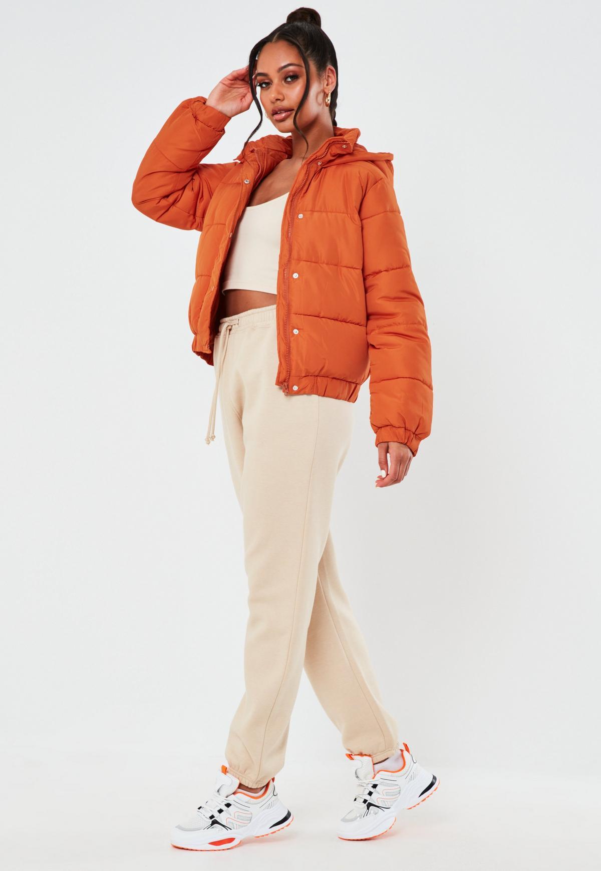 Orange Hooded Puffer Jacket | Missguided