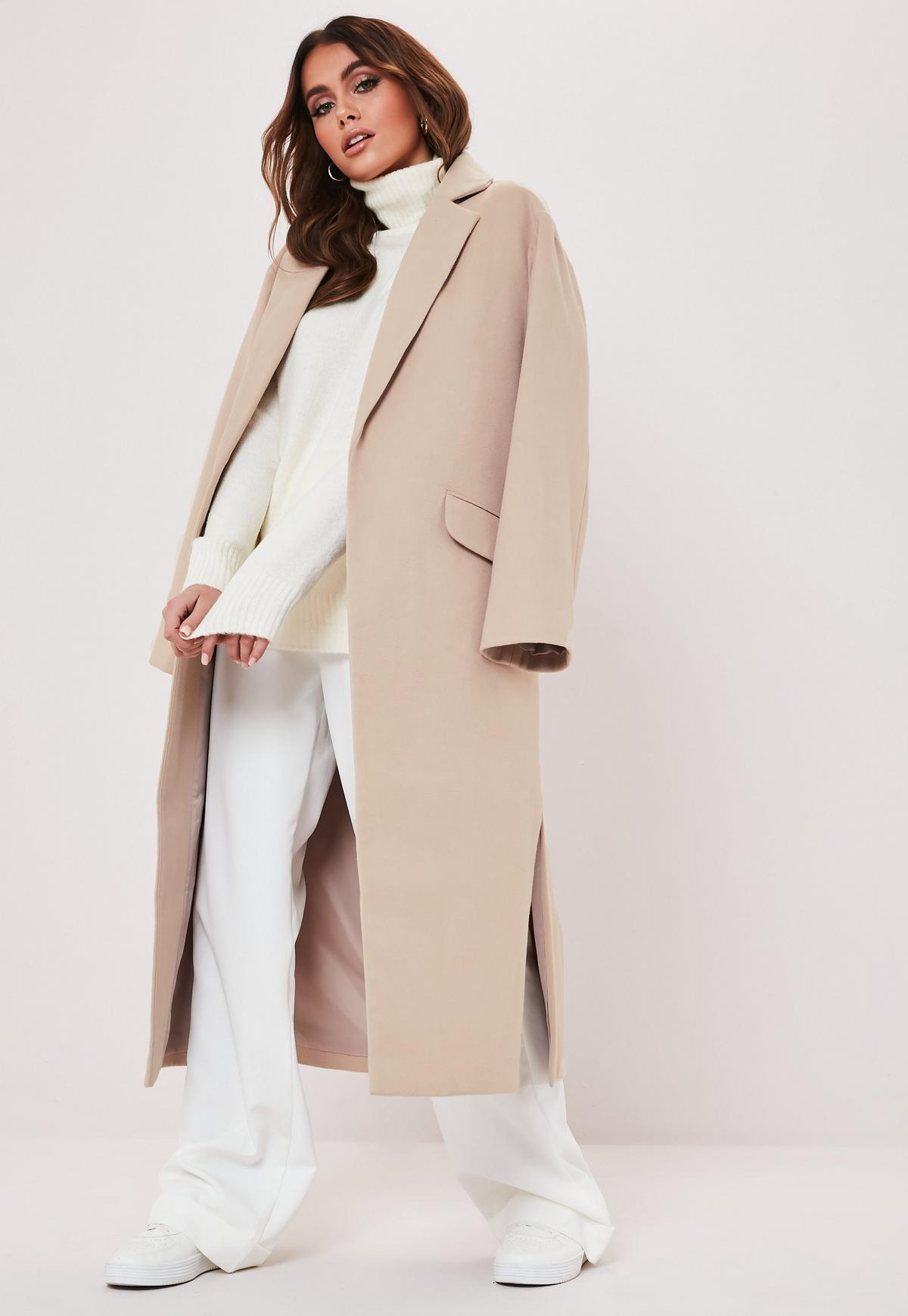 petite camel side split midaxi coat