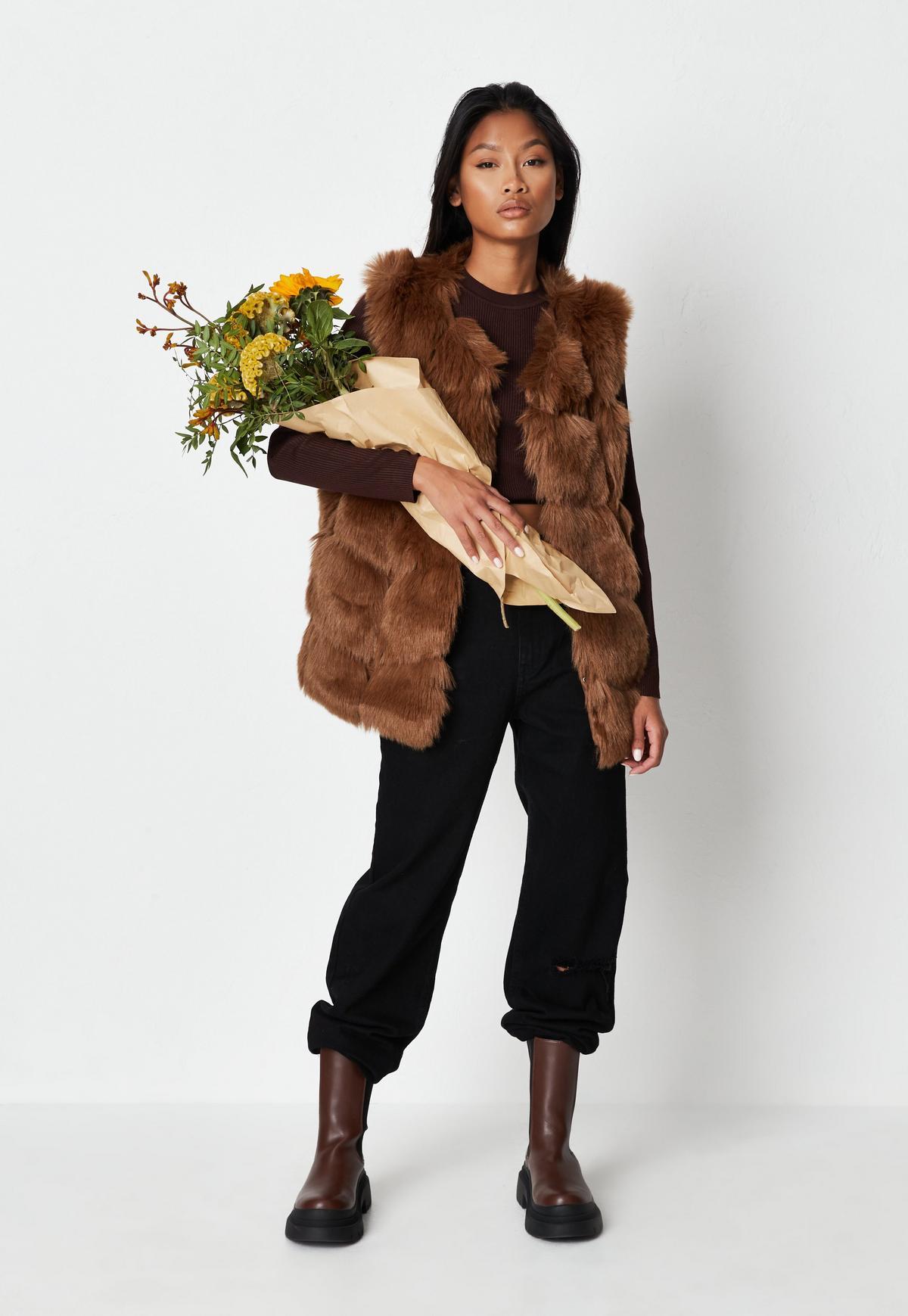 brown pelted faux fur vest