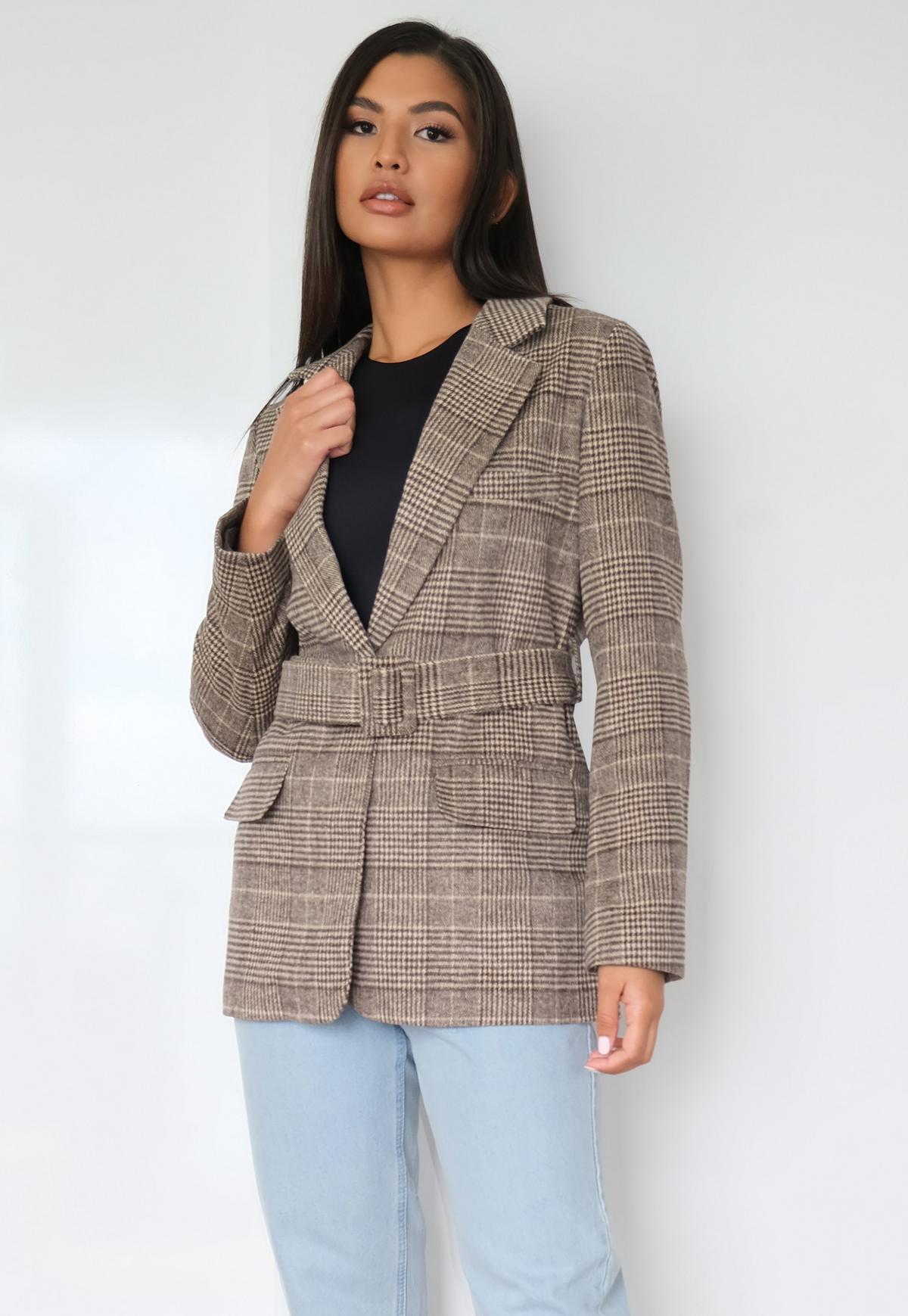 brown check belted blazer coat