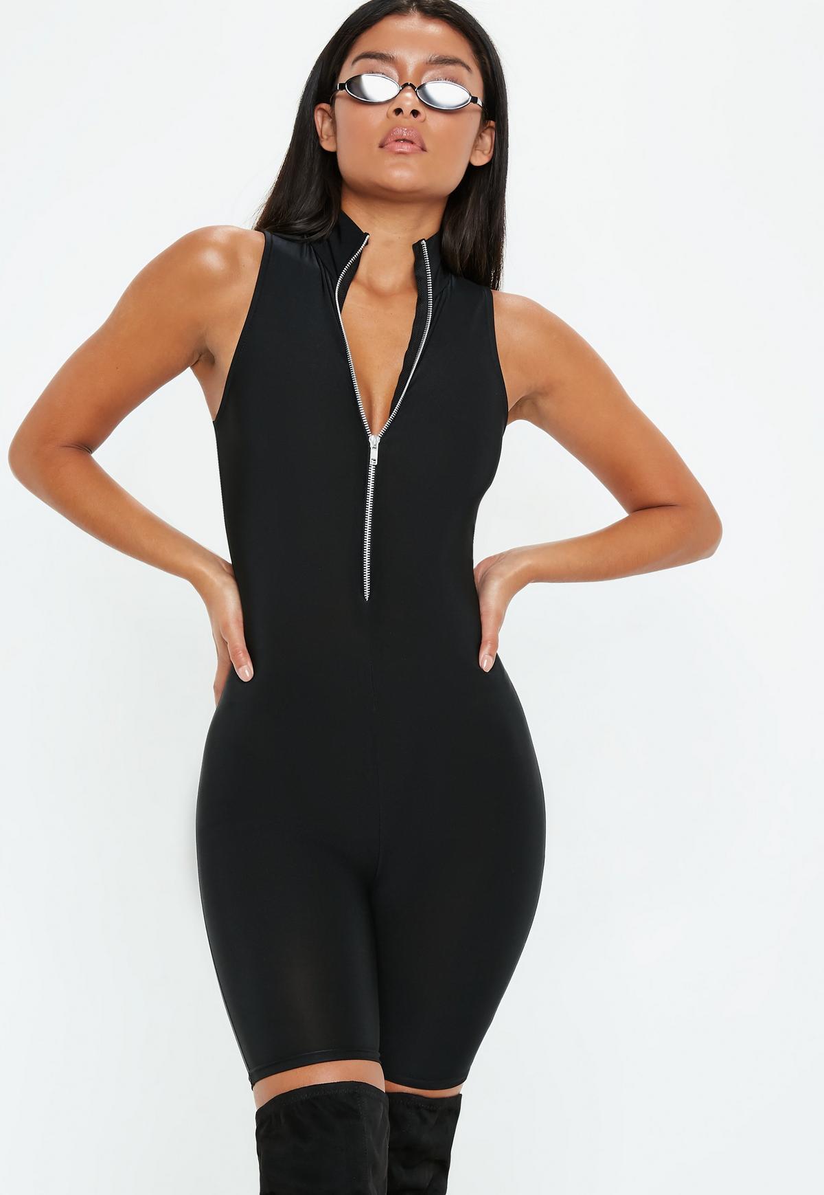 Black Disco Sleeveless Zip Through Unitard | Missguided