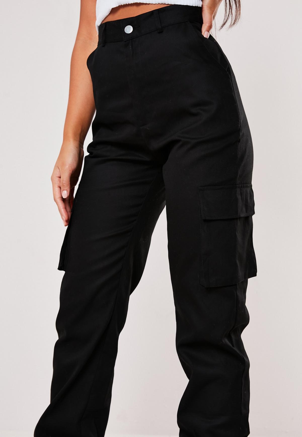 Petite Black Plain Cargo Trousers Missguided Australia