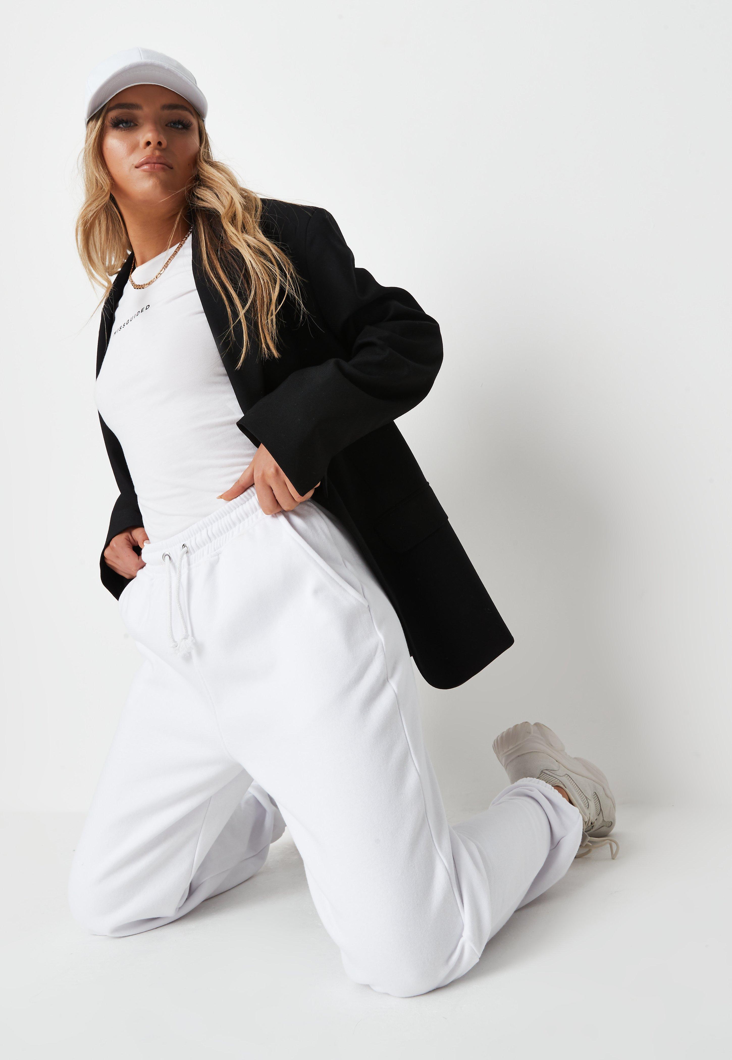 Pantalon de Jogging Blanc Oversize Style Années 90