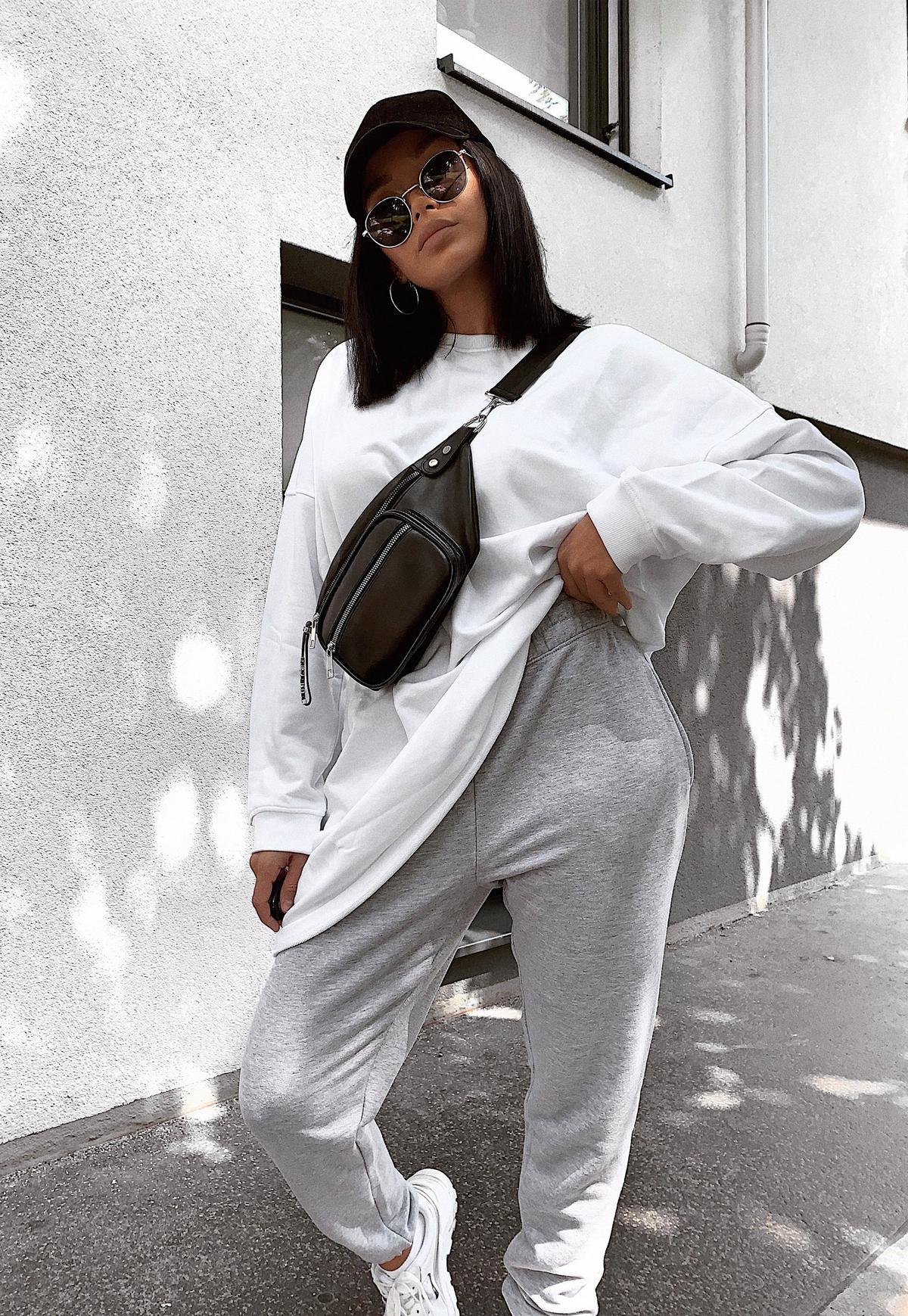Pantalon de Jogging Gris Chiné Oversize Style Années 90