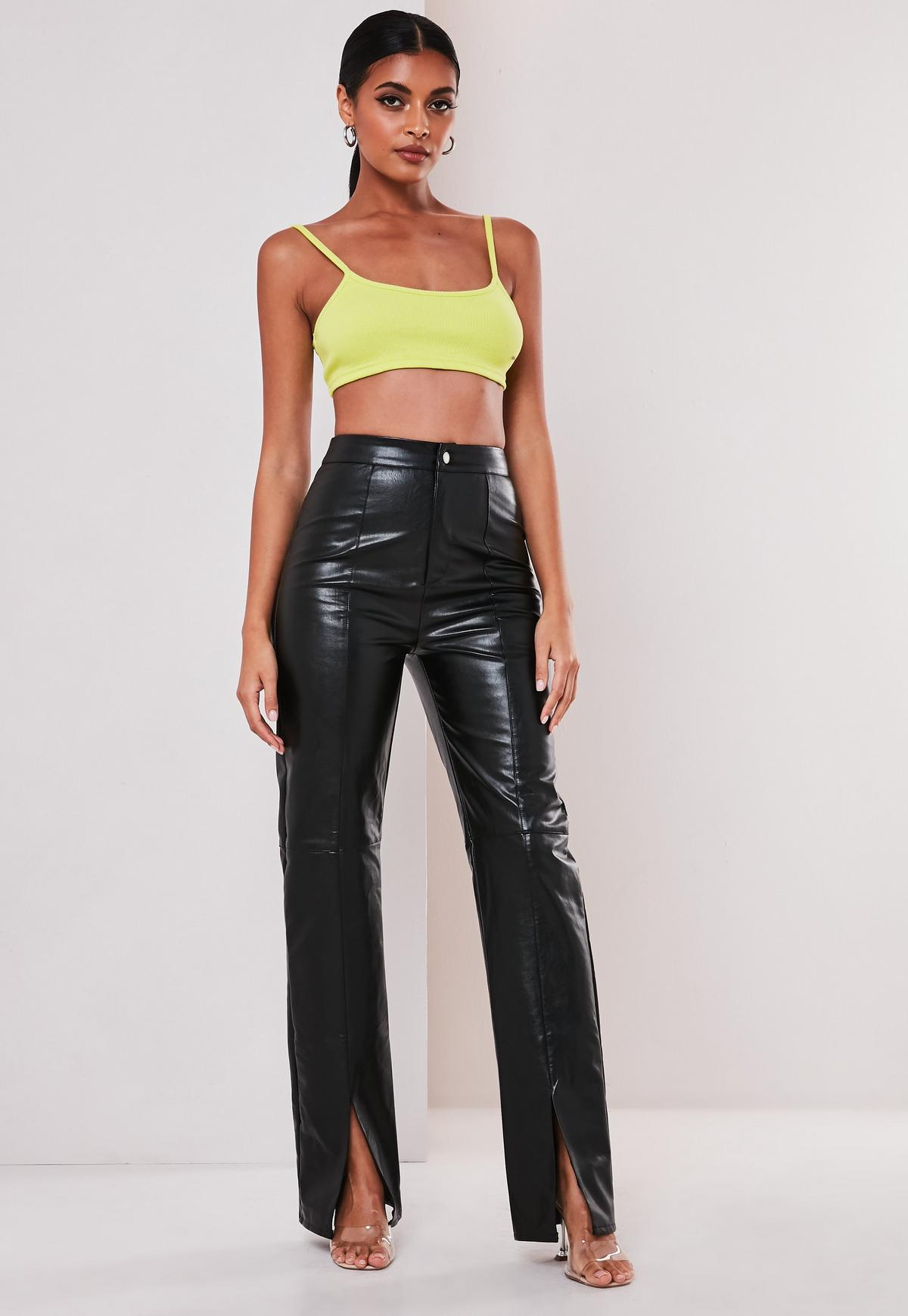 Black Faux Leather Split Front Pants