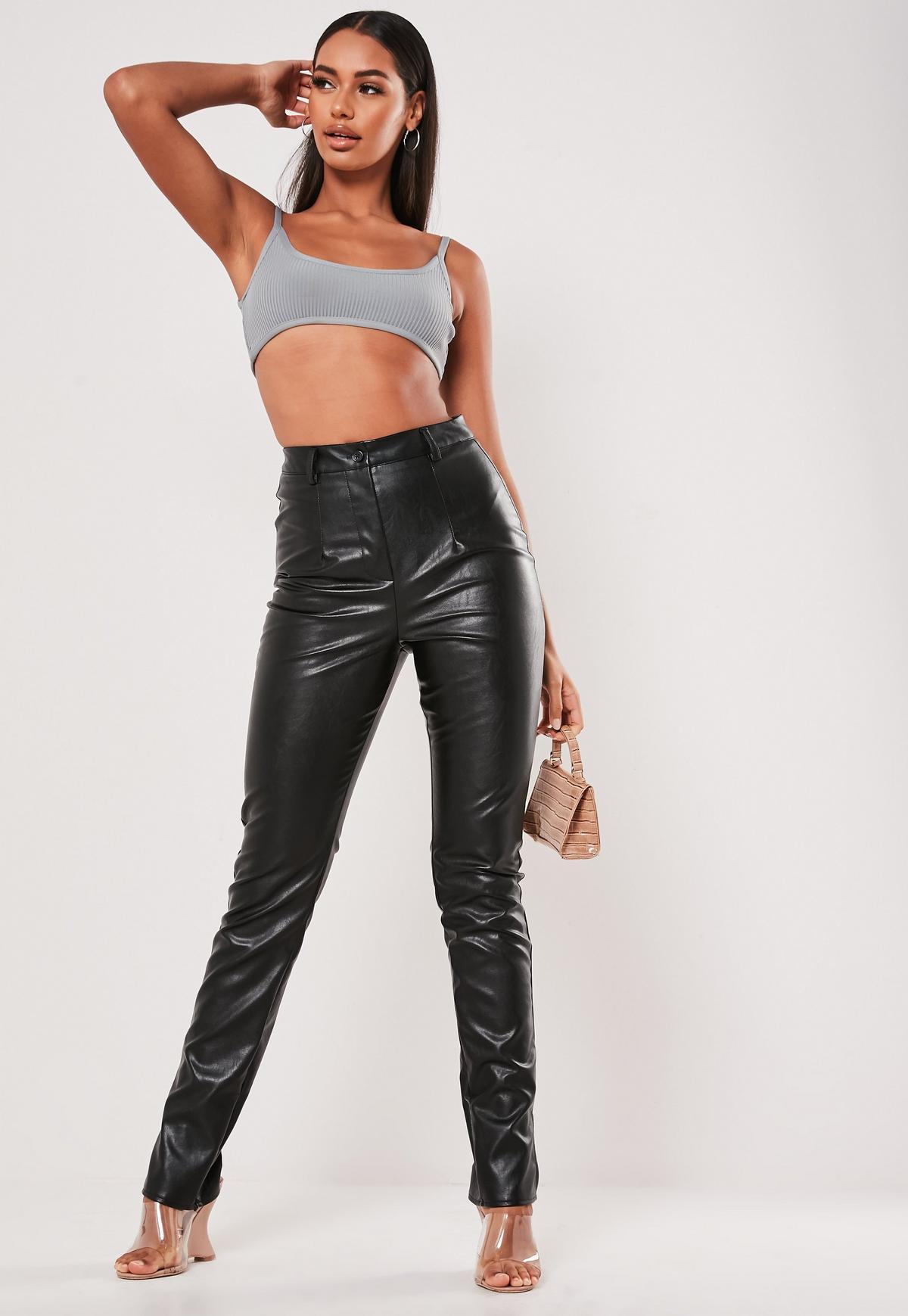 Black Co Ord Faux Leather Split Hem Pants Missguided