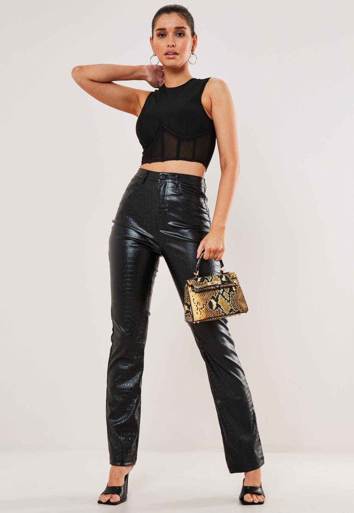 Image result for missguided black croc faux leather straight leg trousers