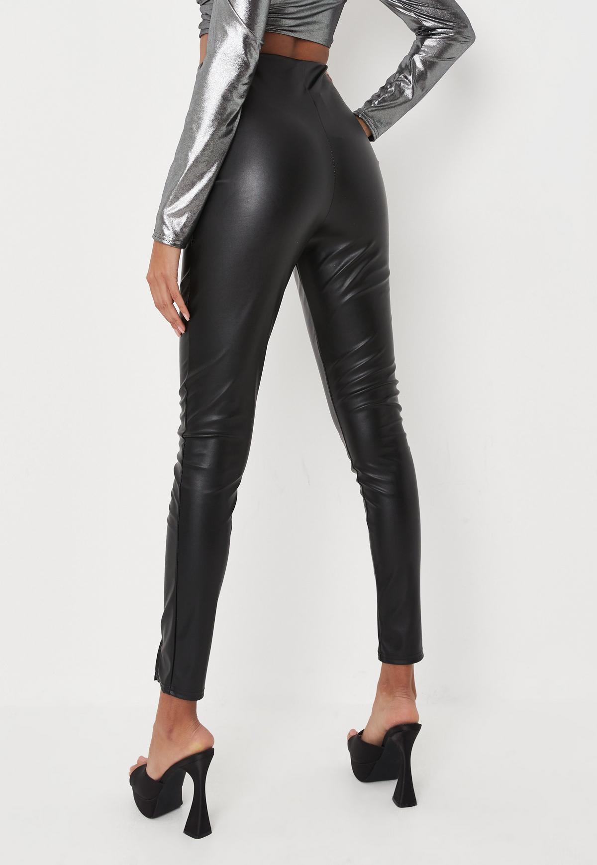 Black Faux Leather Split Front Leggings   Missguided