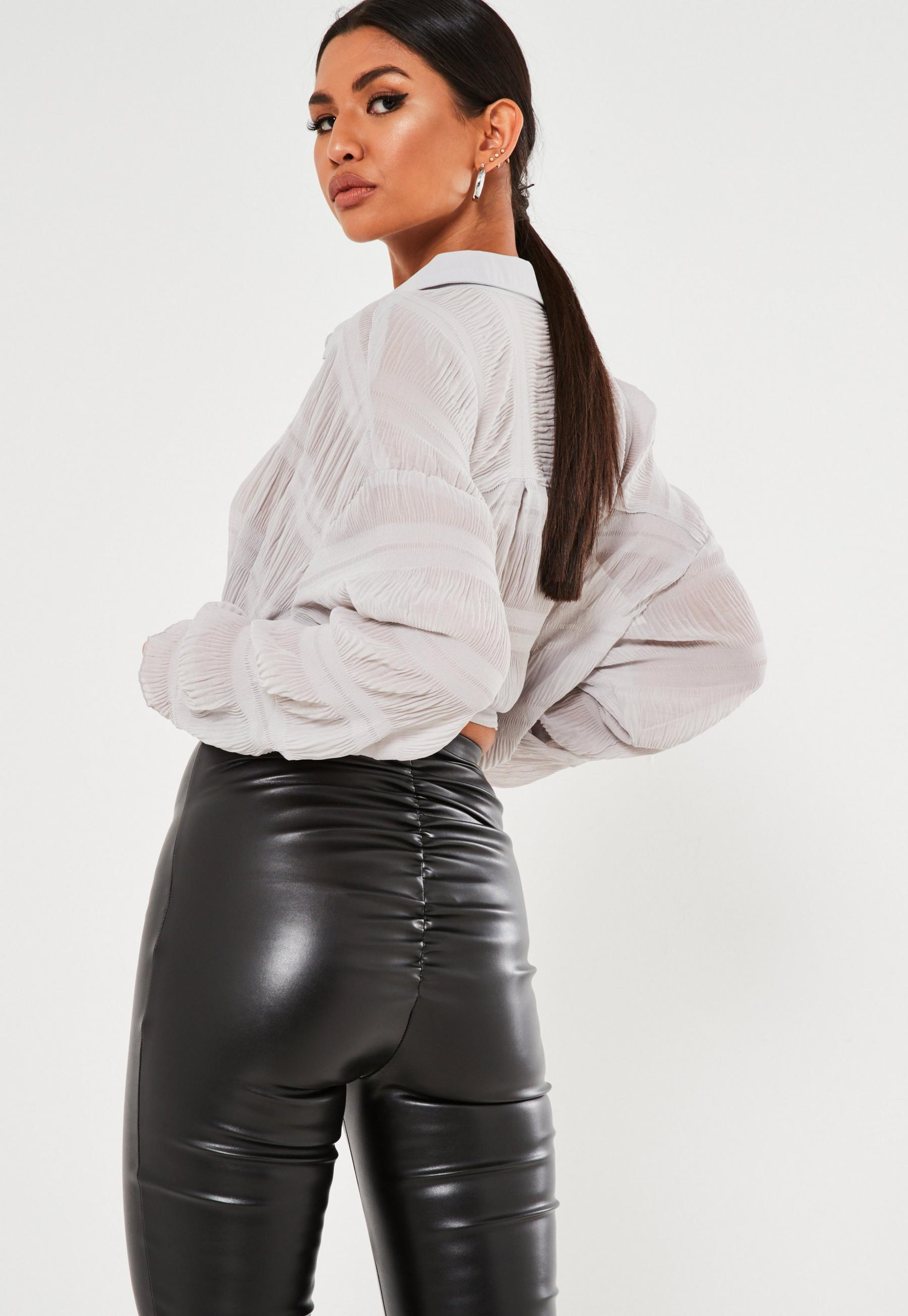 Black Faux Leather Ruched Bum Leggings Missguided   20 off & Cash ...