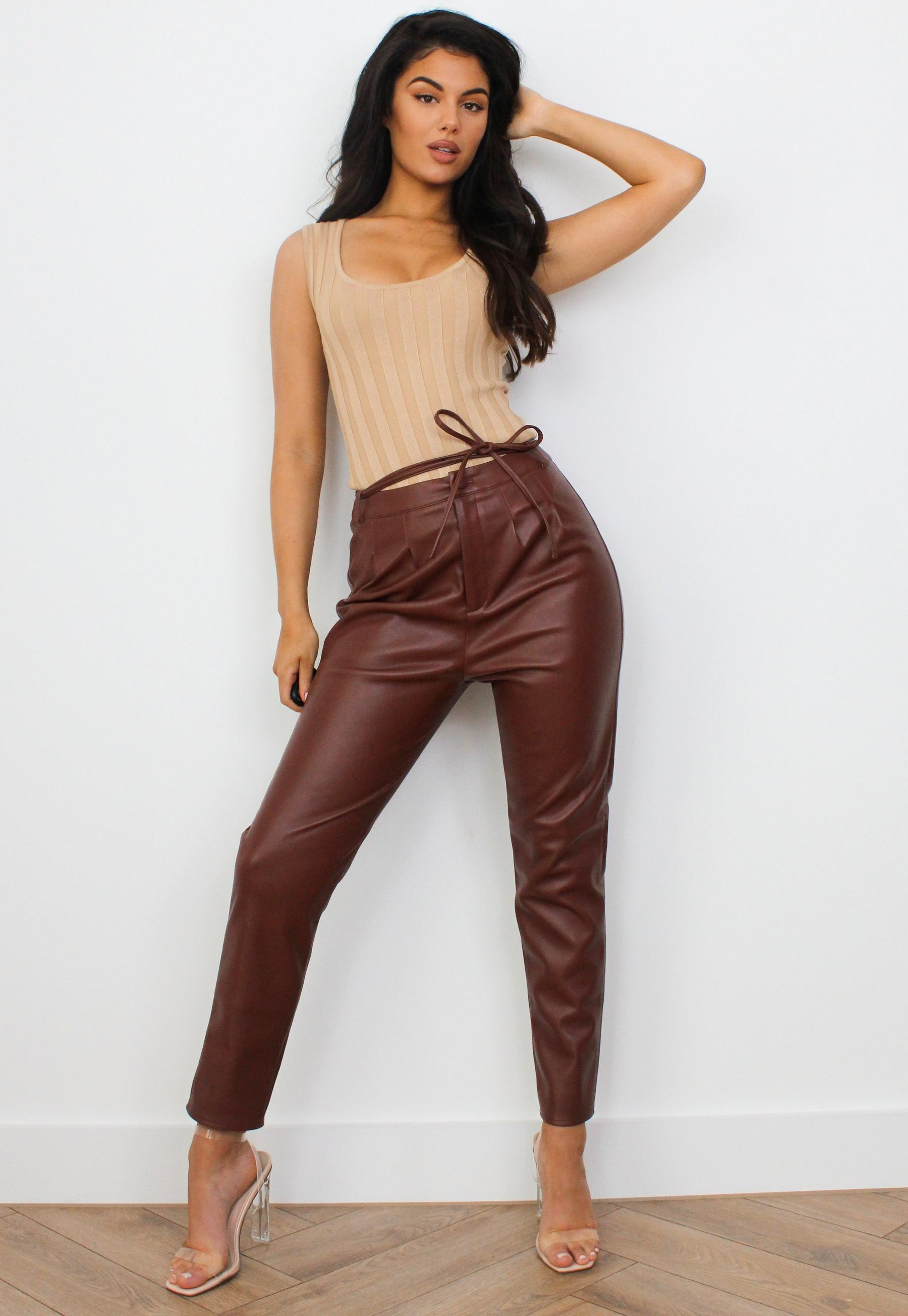 Missguided leather look shorts with lace up detail in