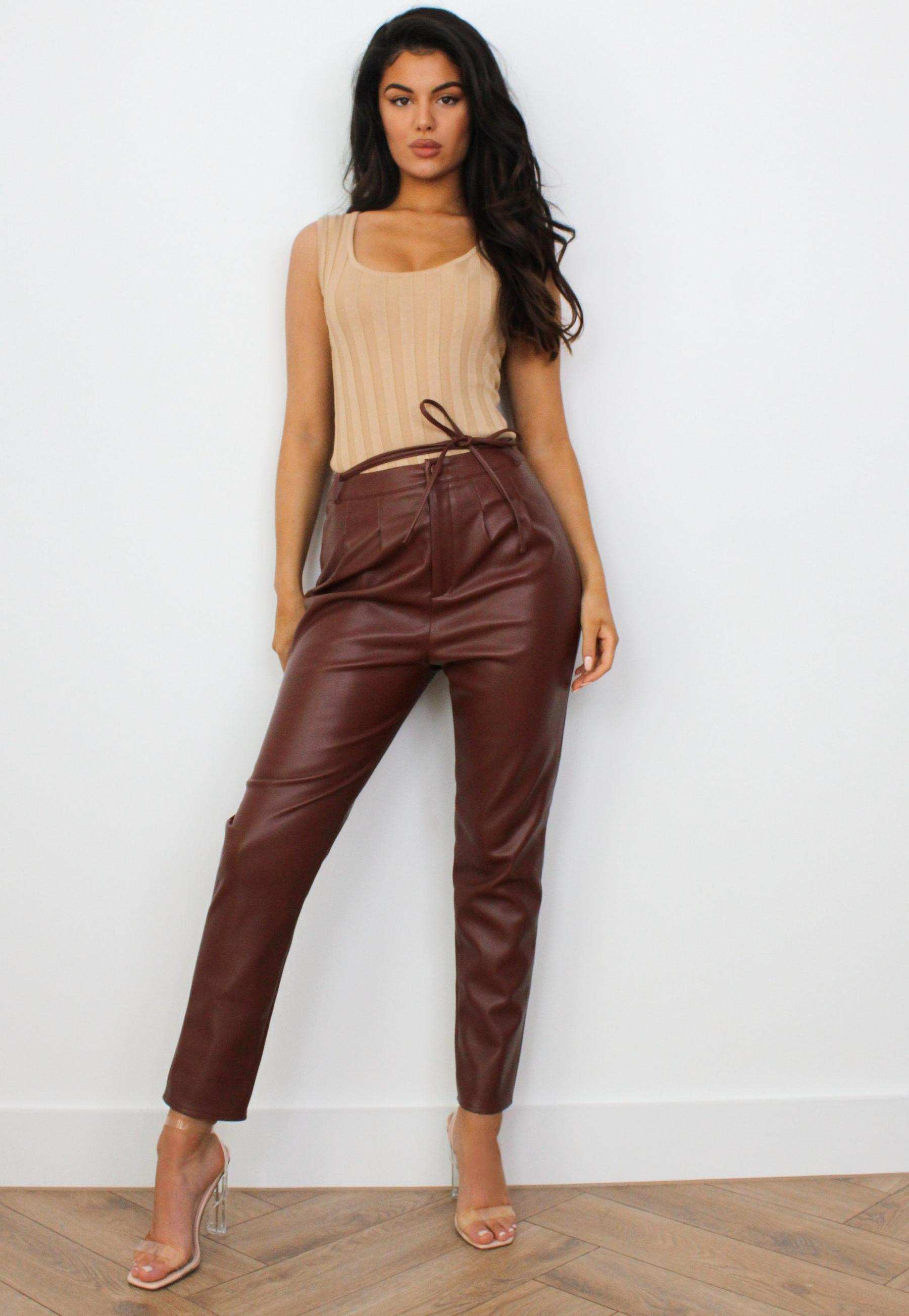 Nude Faux Leather Button Through Shirt Dress | Missguided