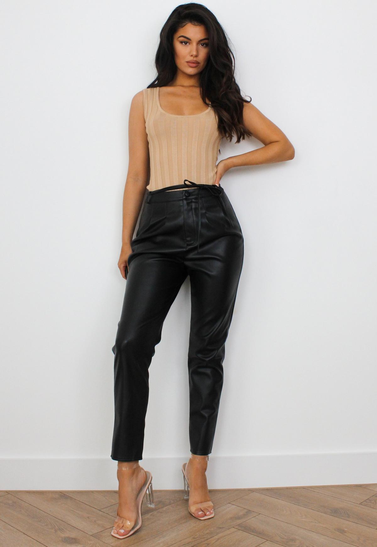 Black Faux Leather Tie Waist Cigarette Trousers | Missguided