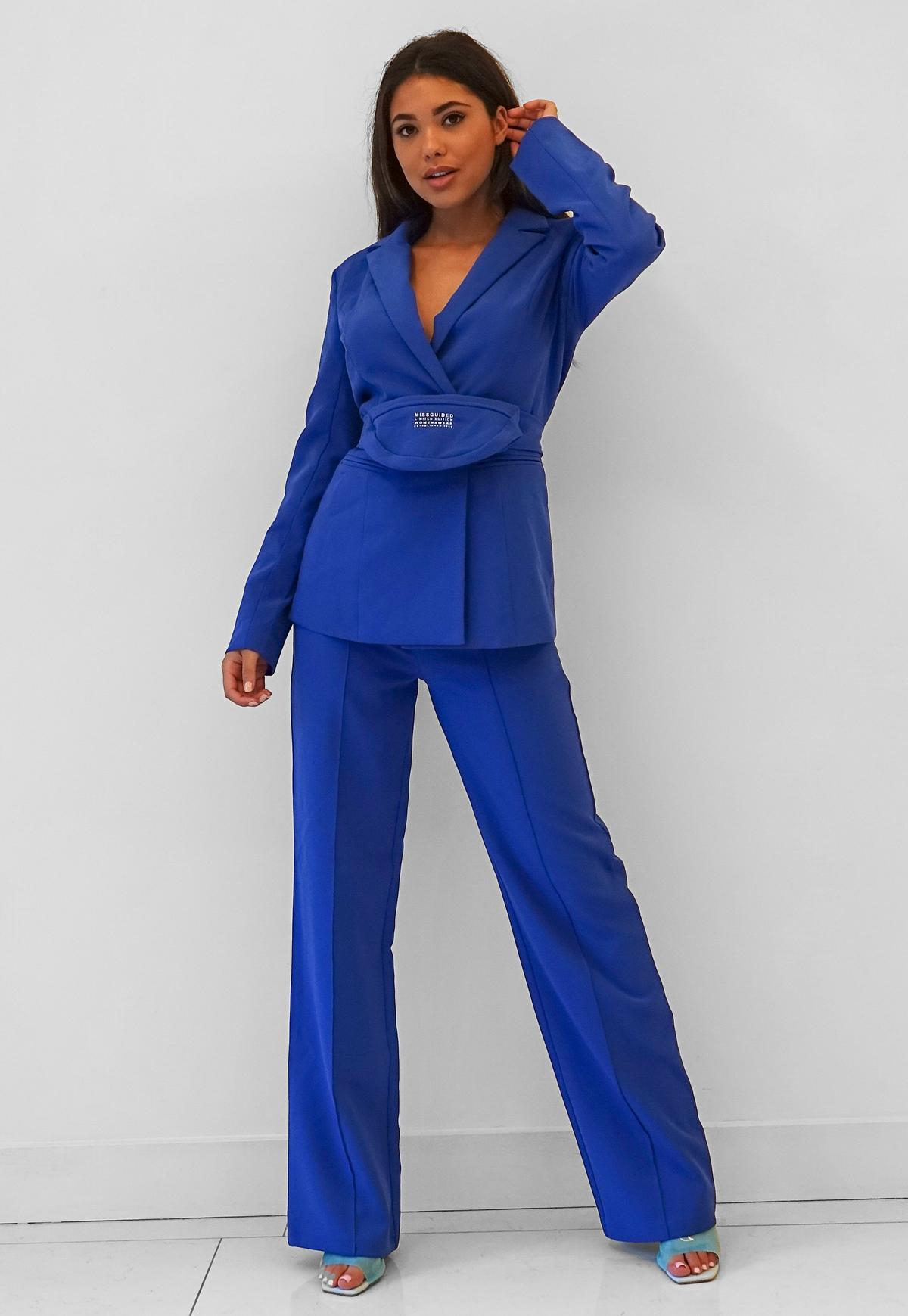 blue seam detail wide leg trousers