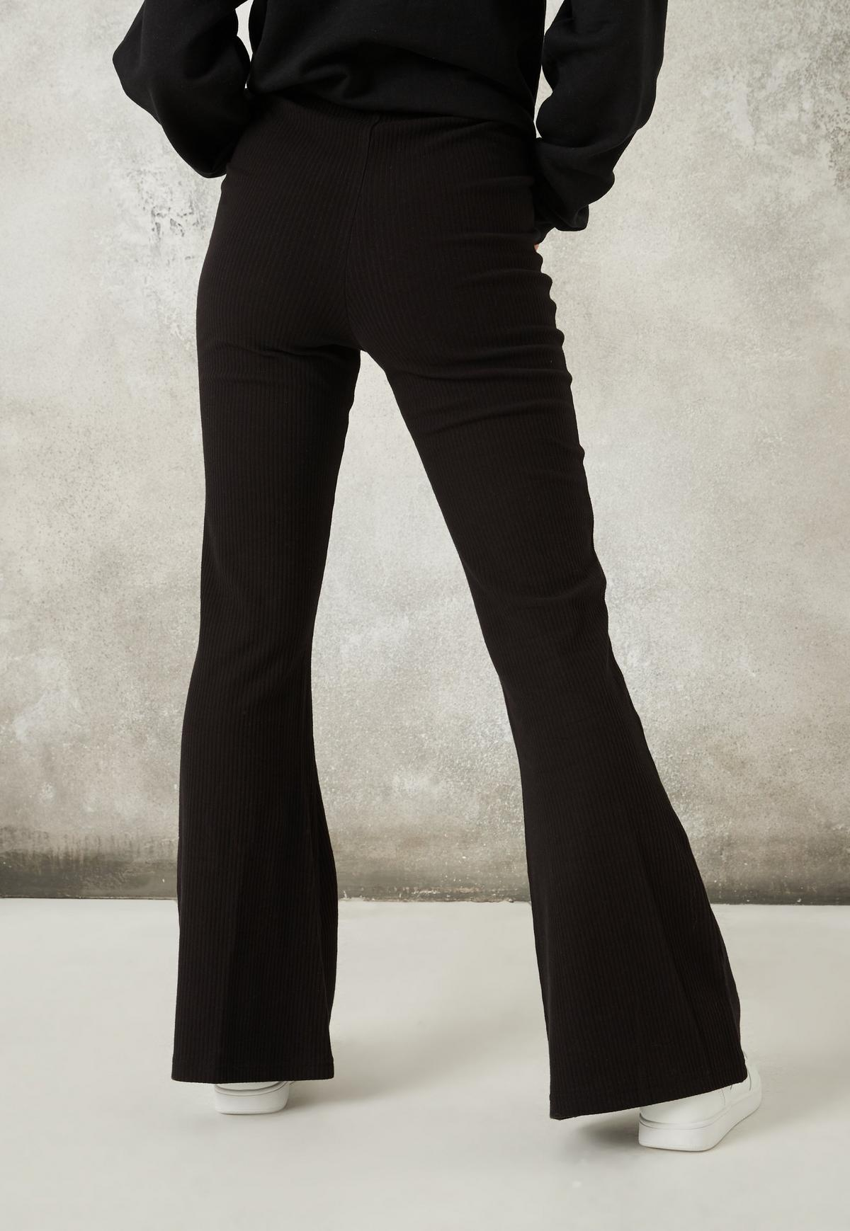 Pack De 2 Pantalones Acampanados De Punto Canale En Negro Missguided