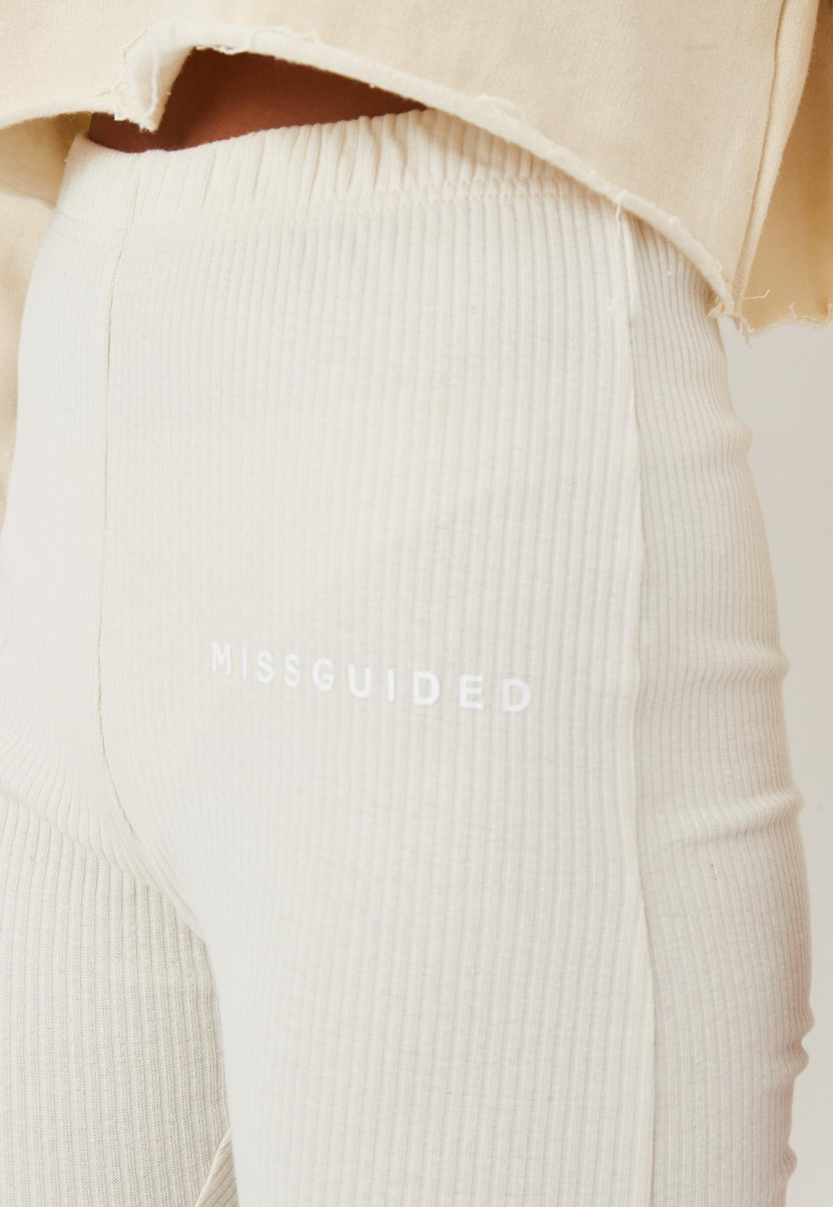 Petite Sand Co Ord Rib Missguided Flare Fit Joggers | Missguided