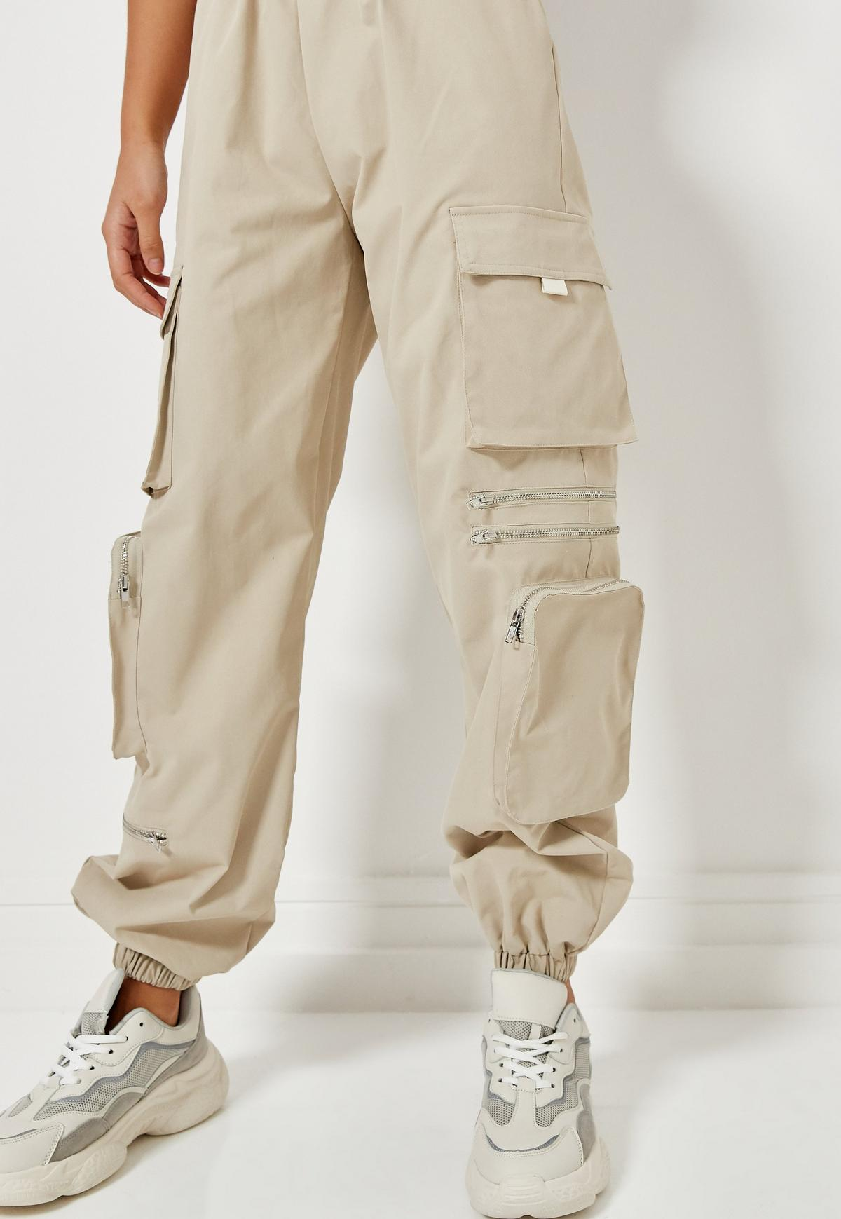Stone 3D Pocket Utility Cargo Trousers  | Missguided