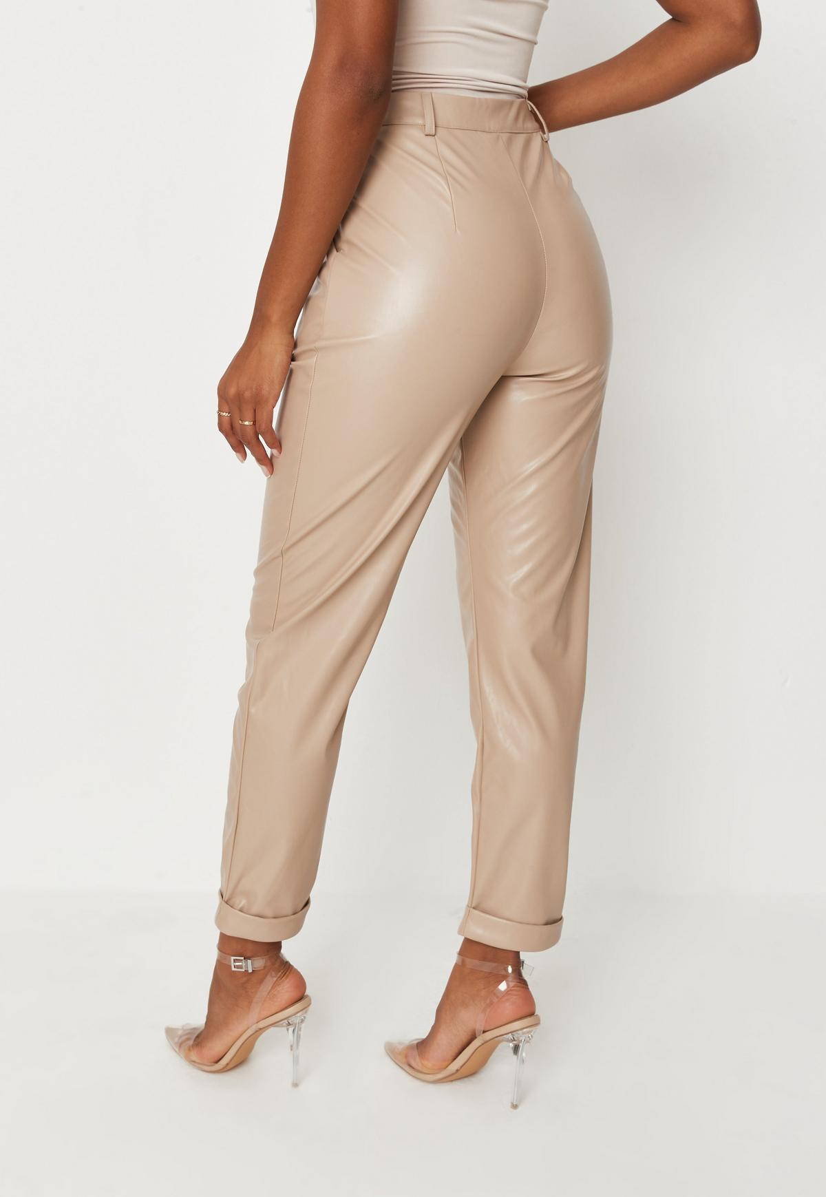 Camel Faux Leather Turn Up Cigarette Pants   Missguided