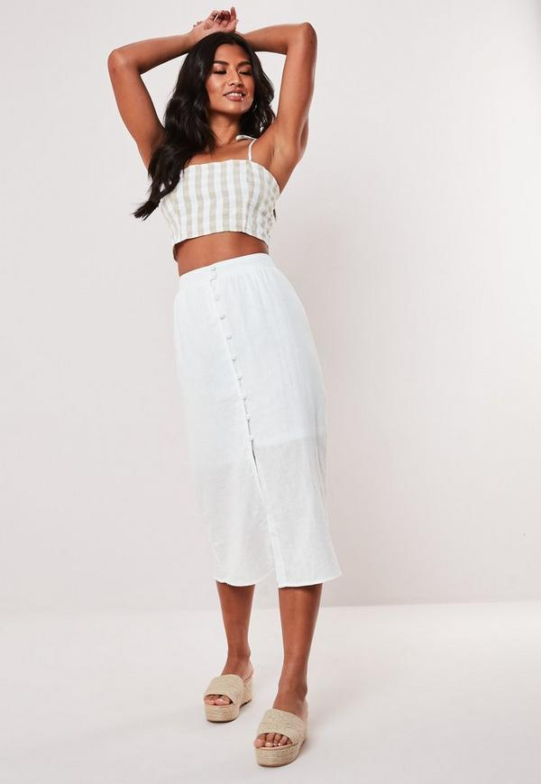 top design in stock enjoy free shipping White Button Front Midi Skirt