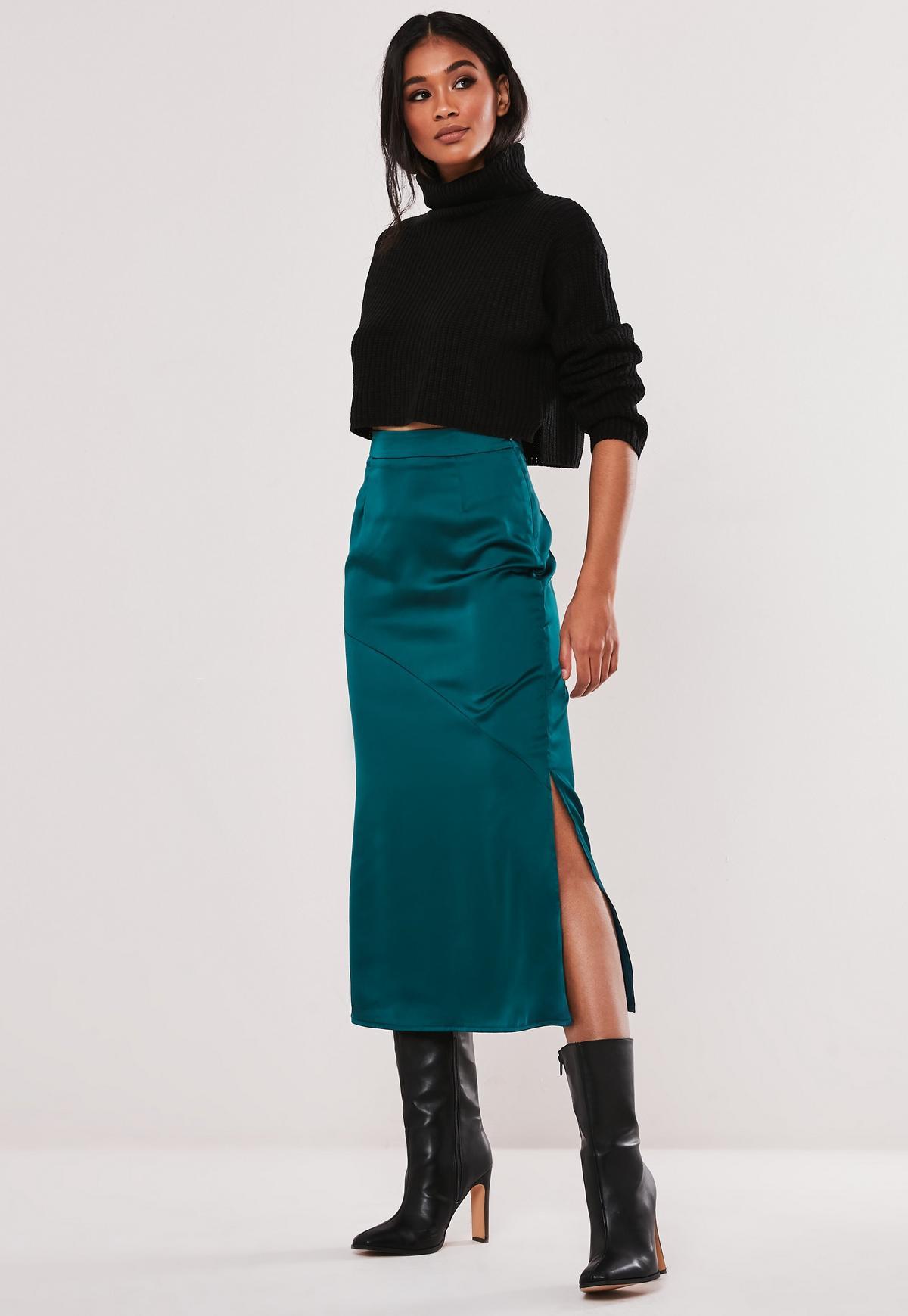 Teal Satin Midi Skirt
