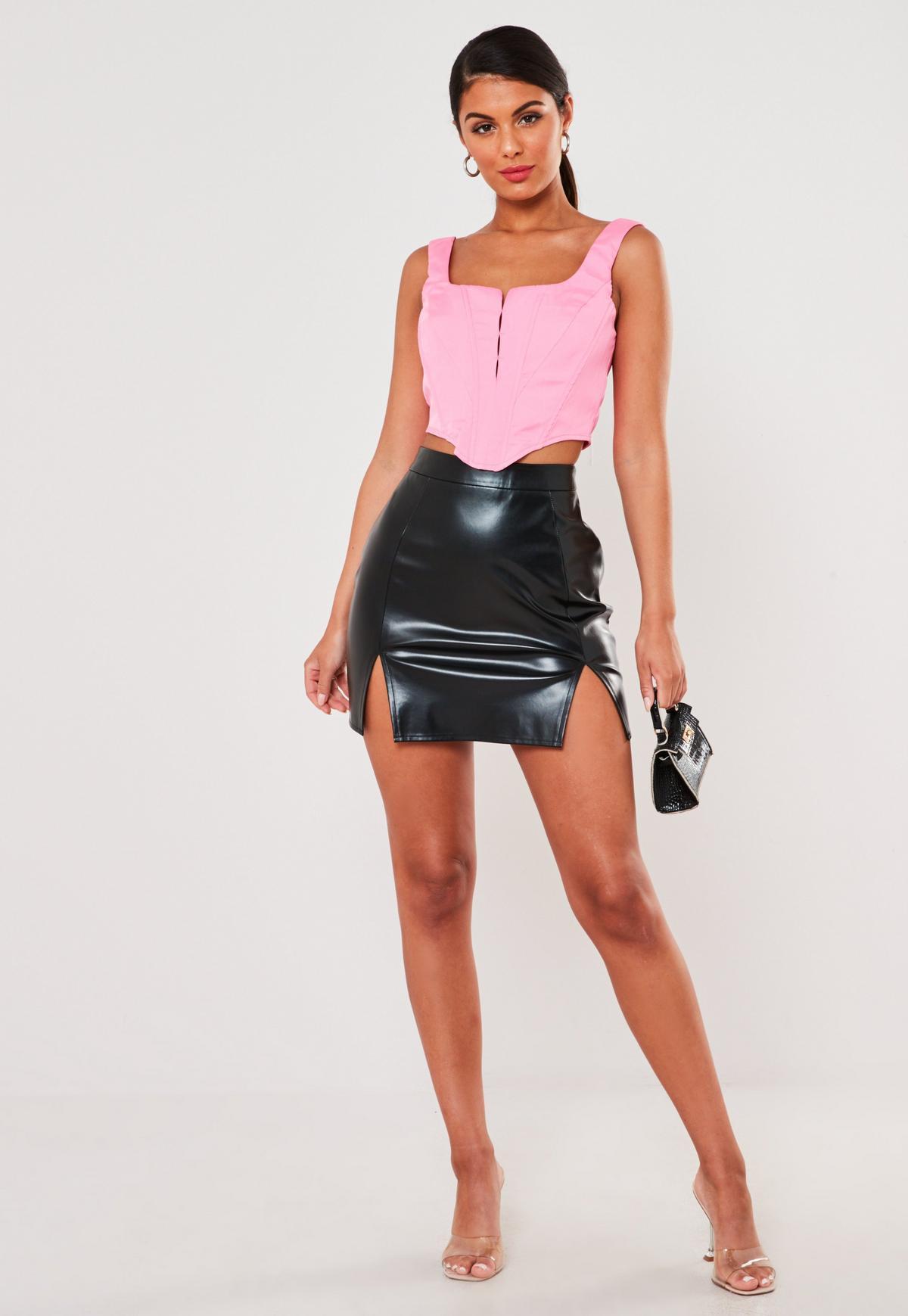 Image result for missguided black faux leather split hem mini skirt
